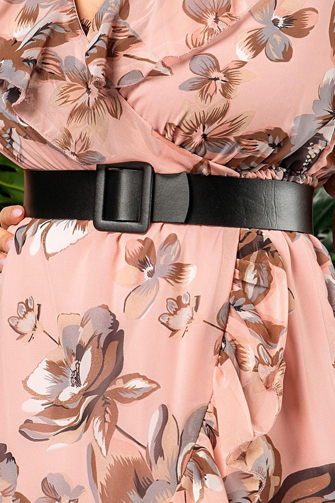 Ροζ Φλοράλ Φόρεμα Με Ζώνη Elda 7555 3