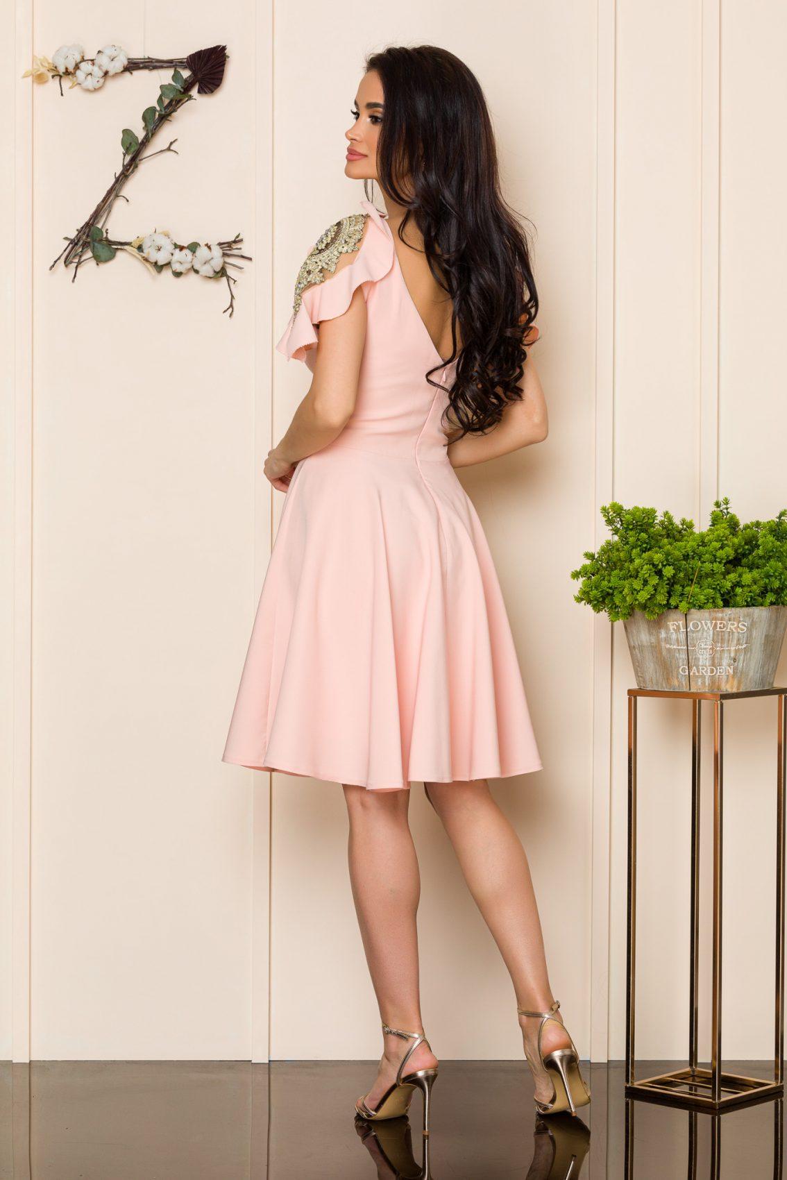 Ροδακινί Αμπιγιέ Φόρεμα Ivy 9934 2