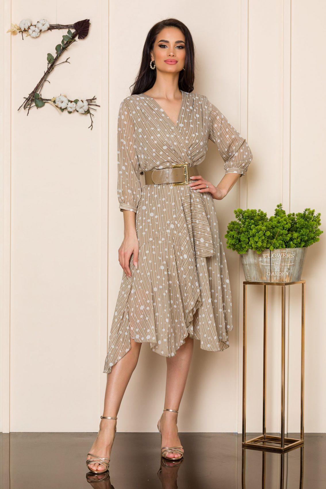 Μπεζ Κρουαζέ Φόρεμα Με Ζώνη Felicia 9857 1