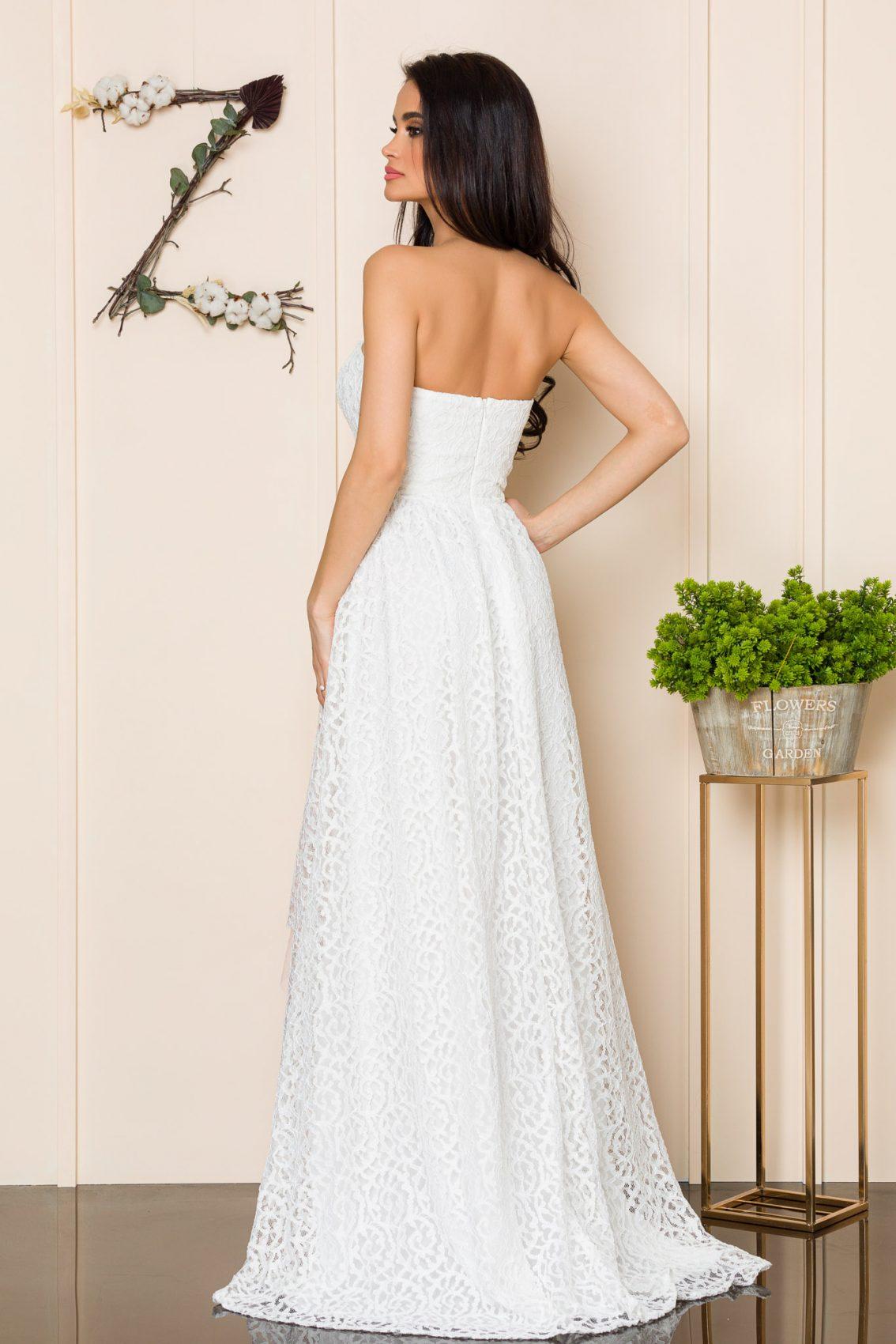 Λευκό Μάξι Αμπιγιέ Φόρεμα Feeling A164 2