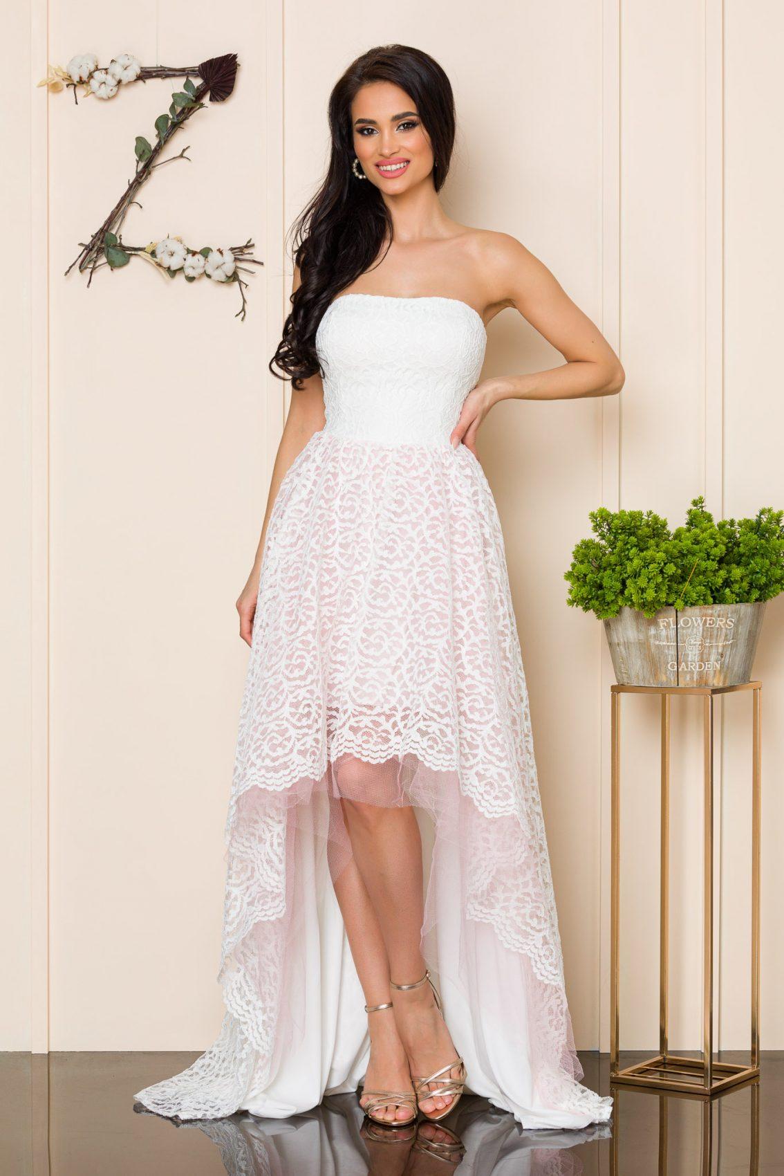 Λευκό Μάξι Αμπιγιέ Φόρεμα Feeling A164 3