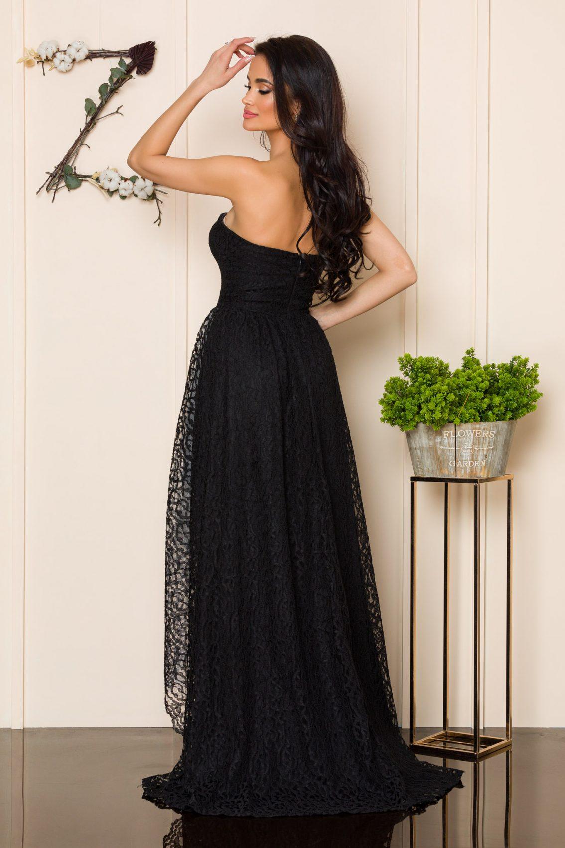 Μαύρο Μάξι Φόρεμα Από Δαντέλα Feeling A163 2