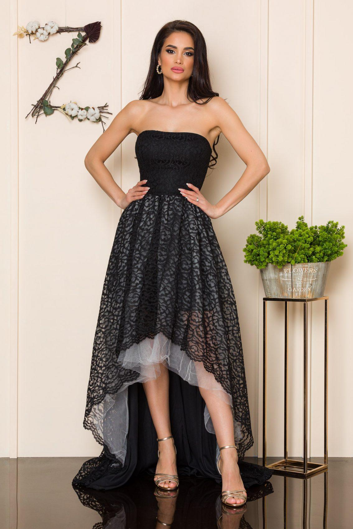 Μαύρο Μάξι Φόρεμα Από Δαντέλα Feeling A163 3