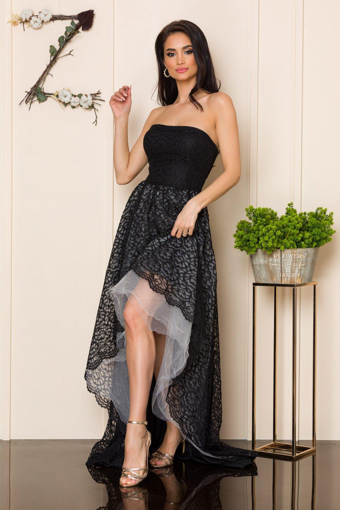 Μαύρο Μάξι Φόρεμα Από Δαντέλα Feeling A163 1