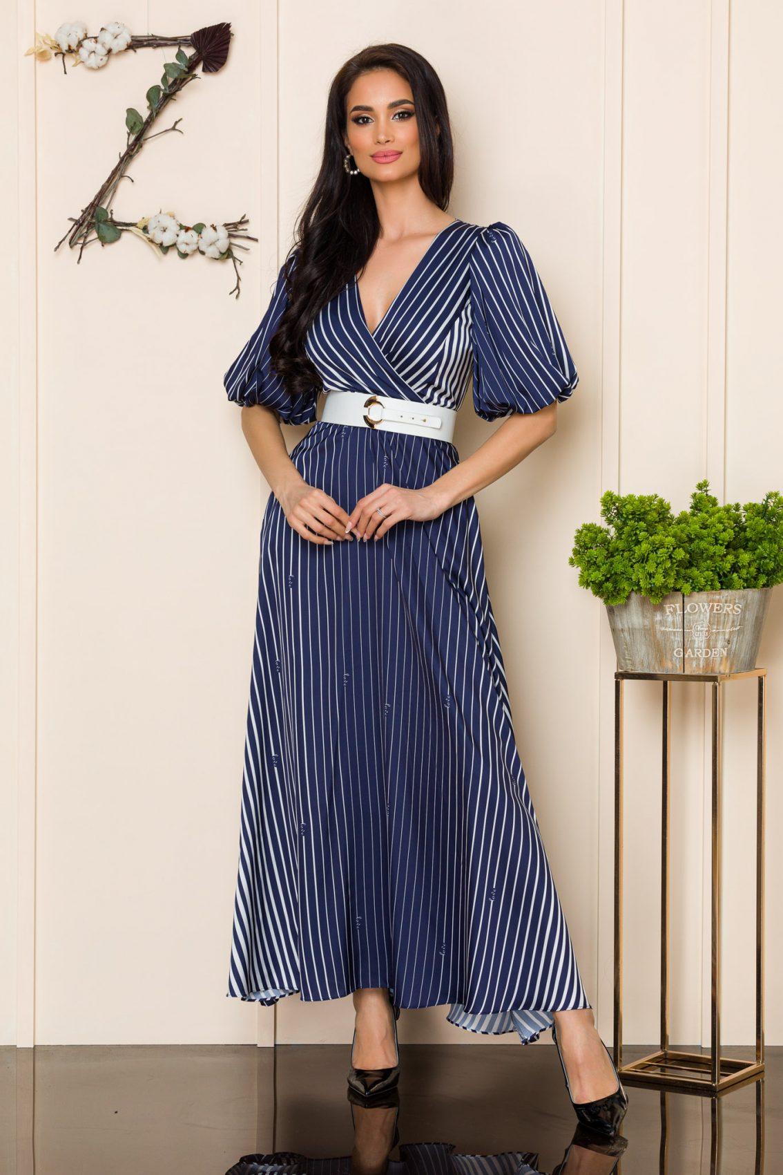 Μπλε Φόρεμα Με Ζώνη Soraya A115 1