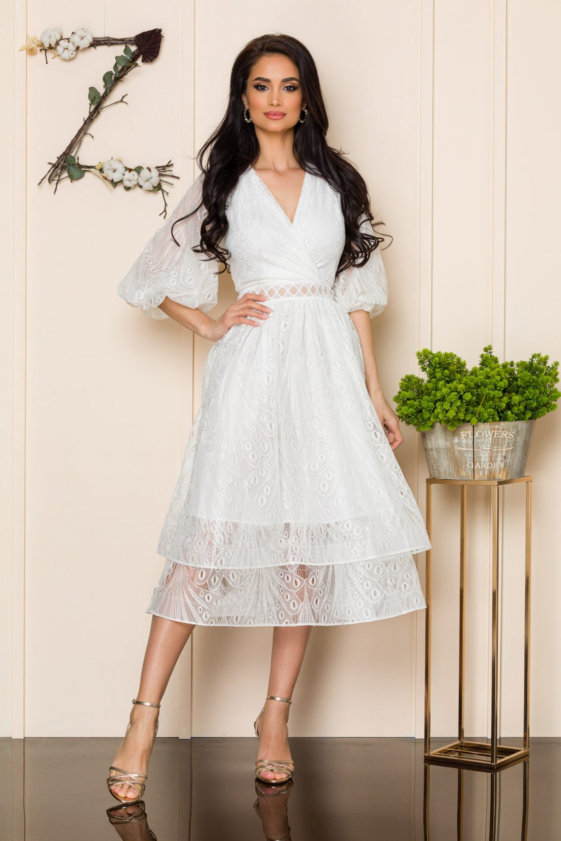 Λευκό Φόρεμα Από Δαντέλα Angeline 9909 1