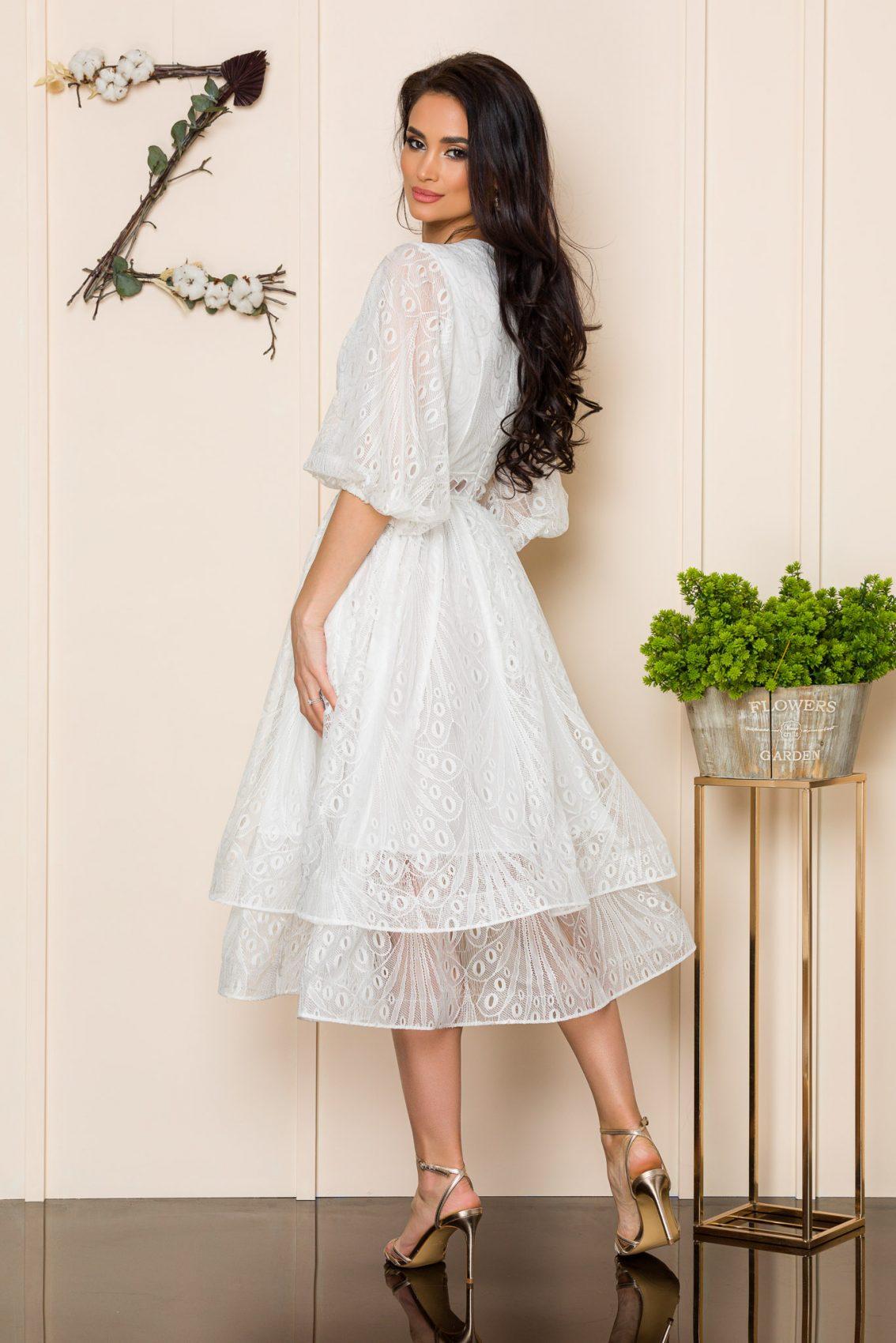 Λευκό Φόρεμα Από Δαντέλα Angeline 9909 2