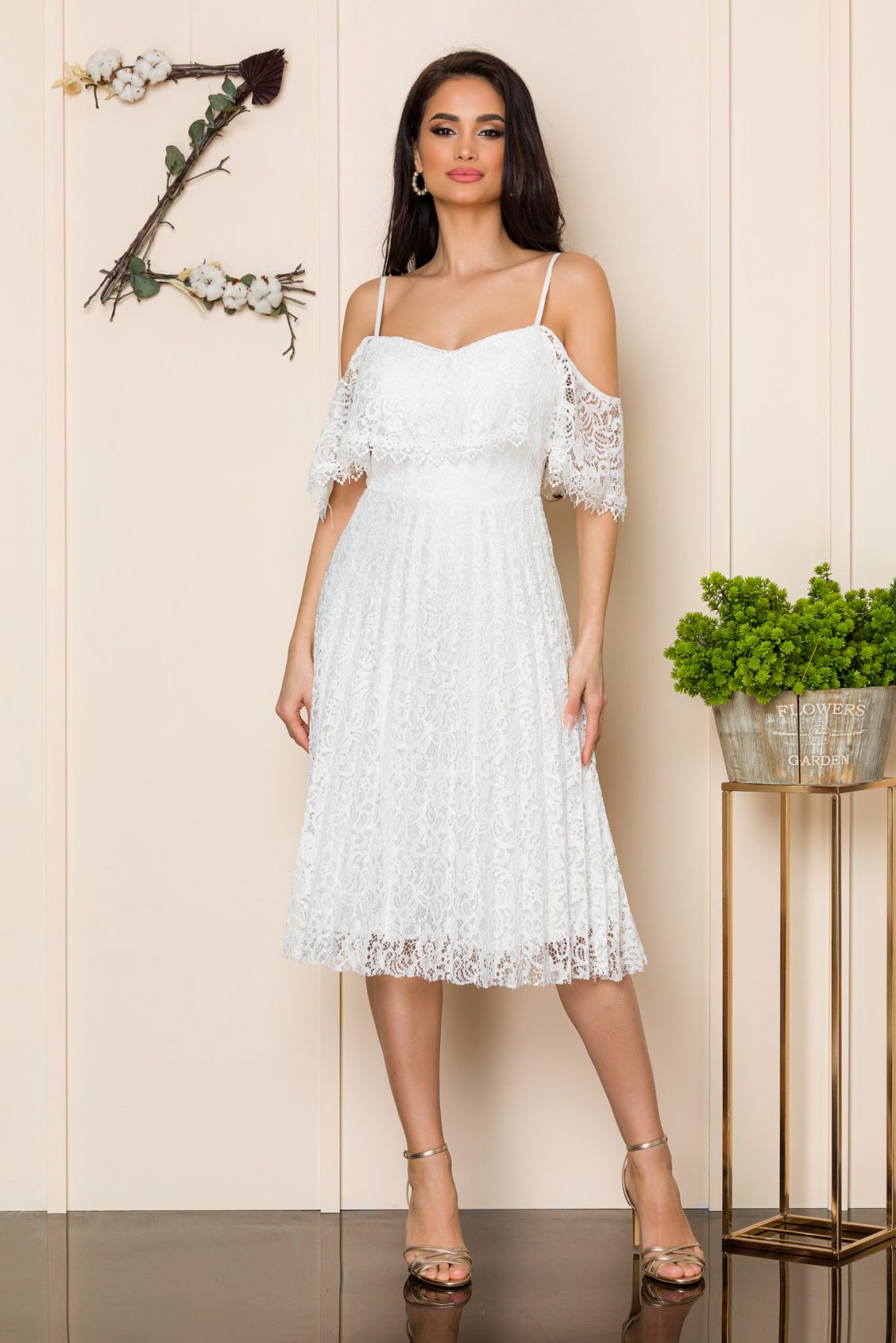 Λευκό Μίντι Φόρεμα Από Δαντέλα Kimber 9886 1