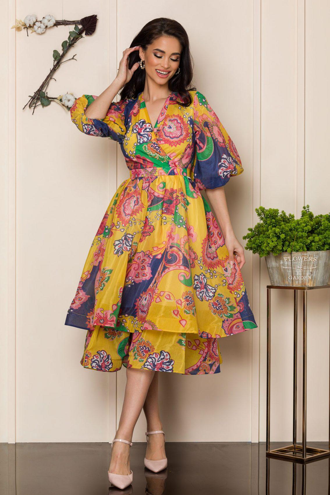 Κίτρινο Μίντι Αμπιγιέ Φόρεμα Dores 9908 1
