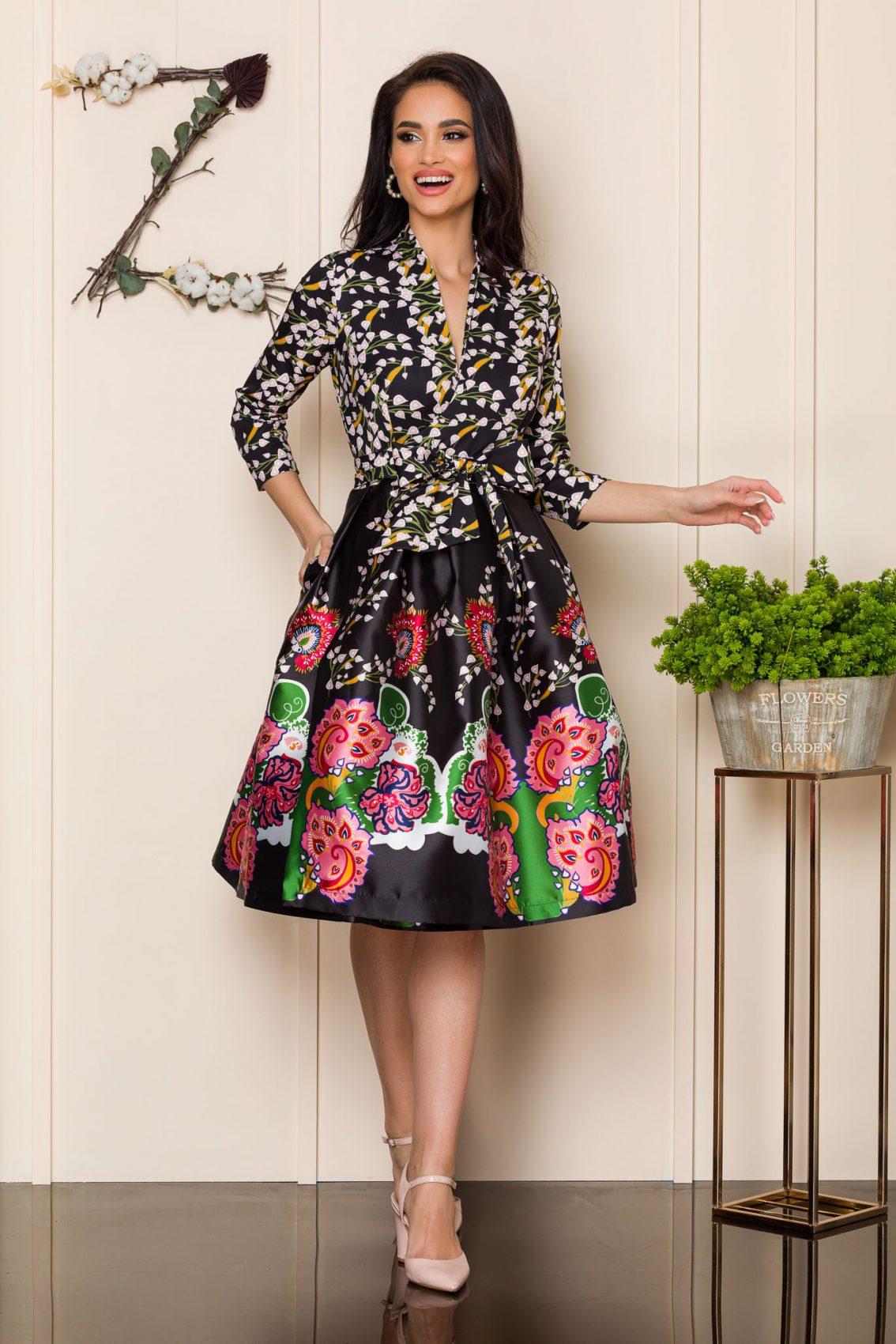 Μαύρο Μίντι Αμπιγιέ Φόρεμα Natasha 9905 1