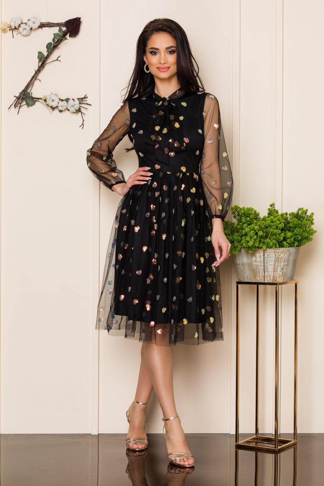 Μαύρο Μίντι Αμπιγιέ Φόρεμα Hart A122 1