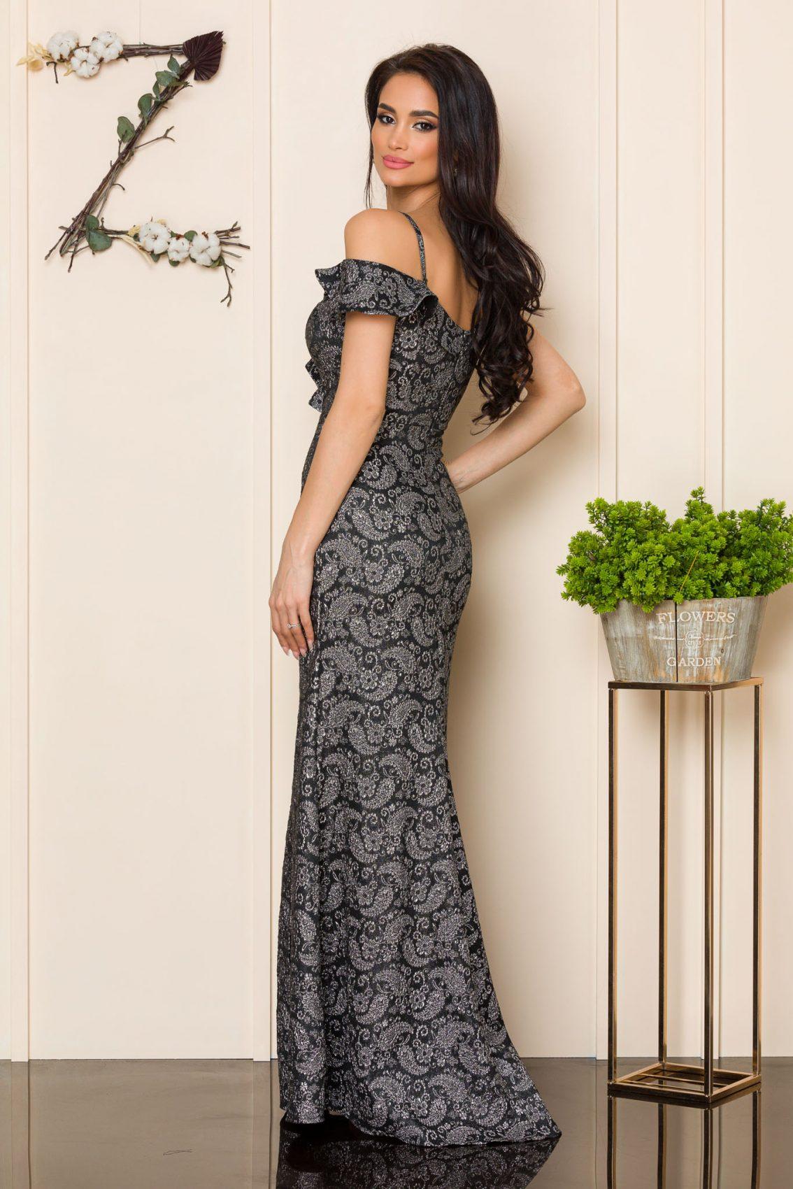 Μαύρο Μάξι Αμπιγιέ Φόρεμα Sirenna A175 2