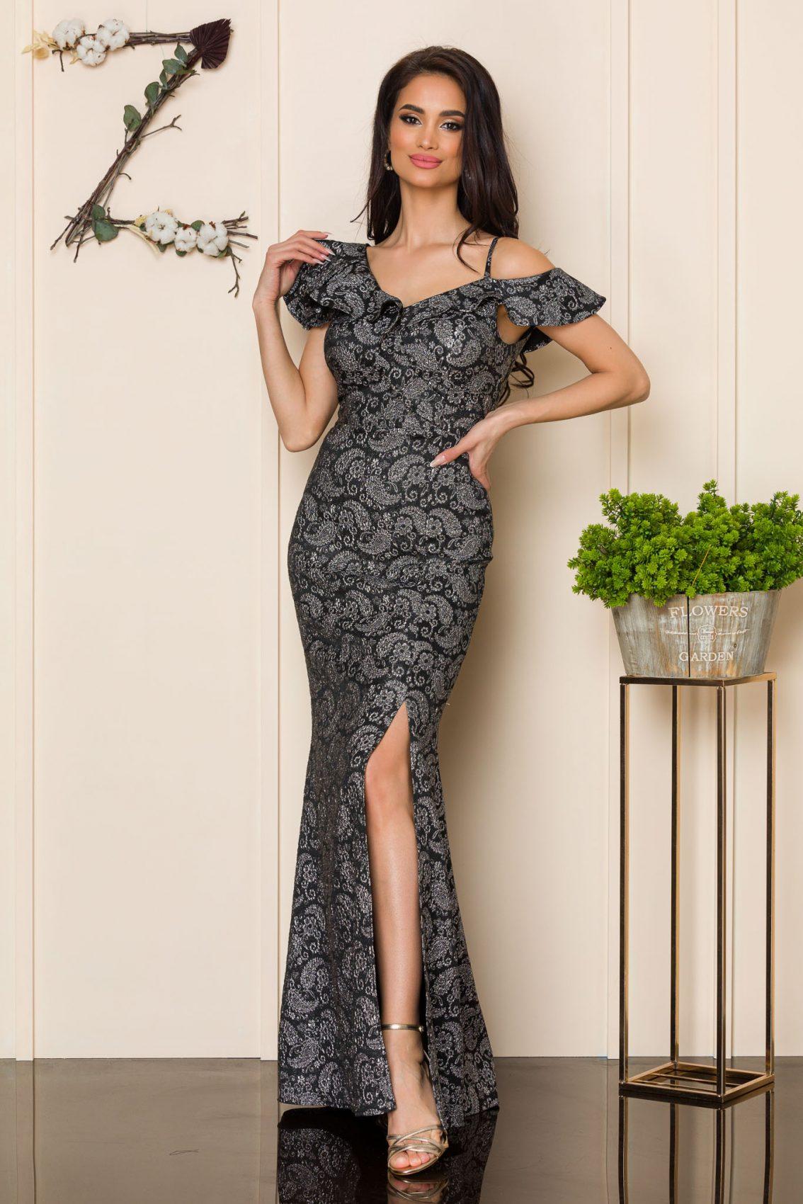 Μαύρο Μάξι Αμπιγιέ Φόρεμα Sirenna A175 1