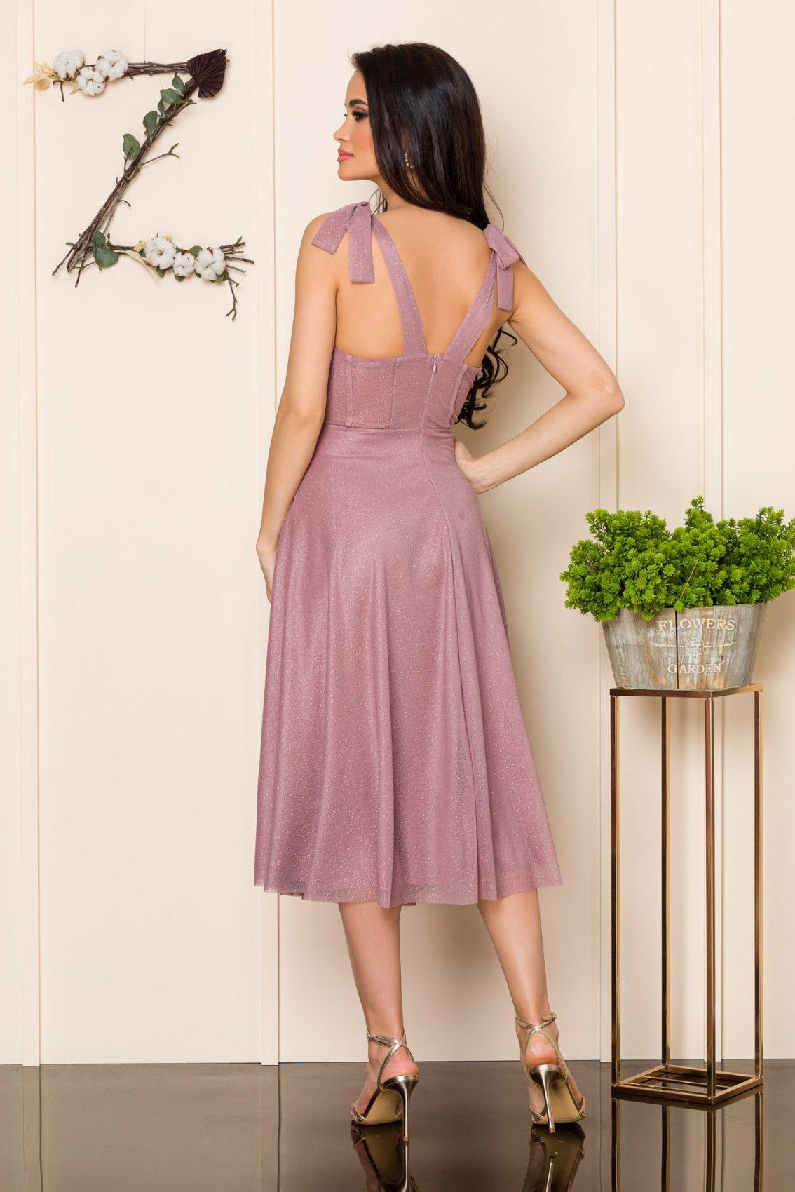 Ροζ Μίντι Αμπιγιέ Φόρεμα Solange A102 2
