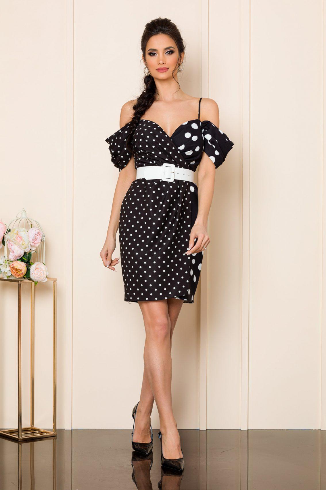 Μαύρο Πουά Κρουαζέ Φόρεμα Syerra 9815 1