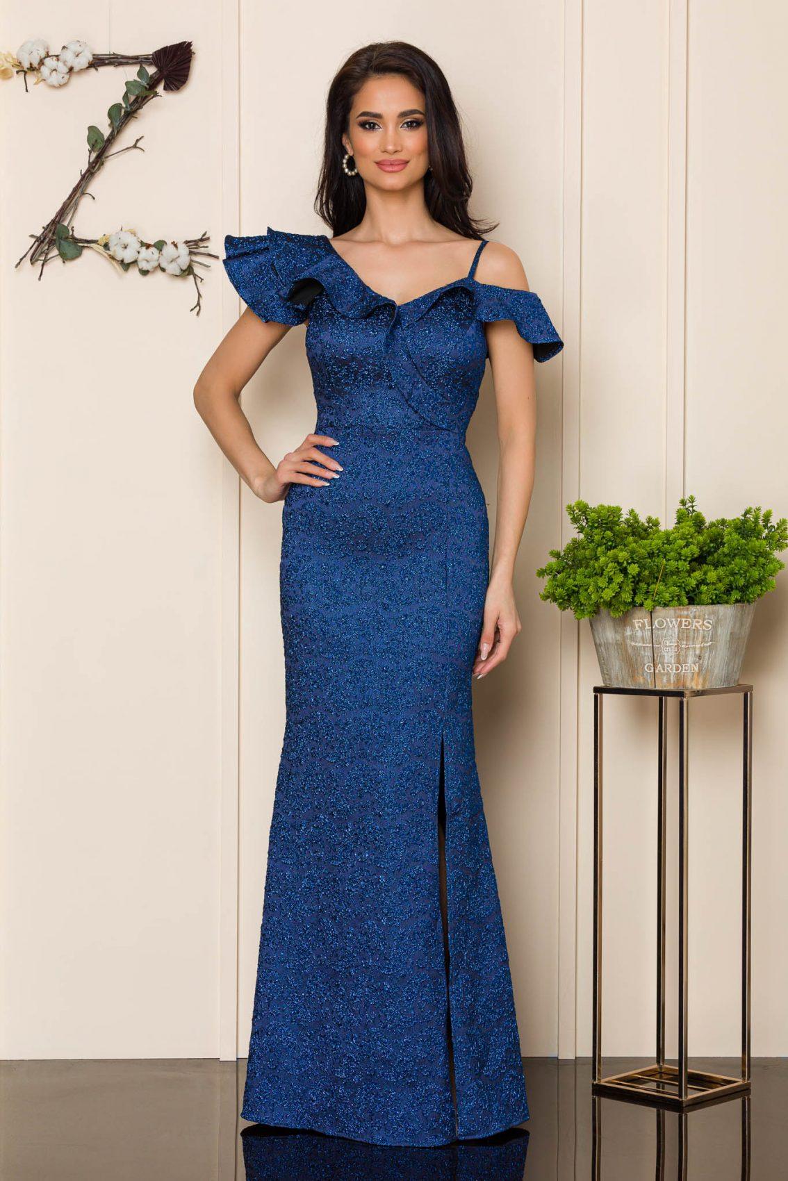 Μπλε Μάξι Αμπιγιέ Φόρεμα Sirenna A176 1