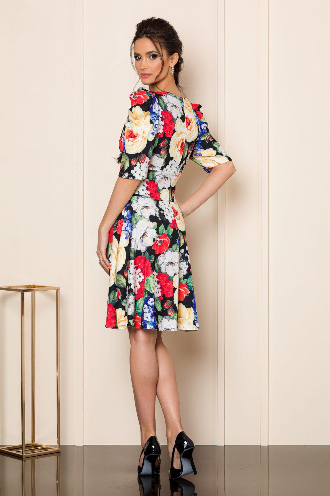 Floral Φόρεμα Με Φουσκωτό Μανίκι Renee 8016 2