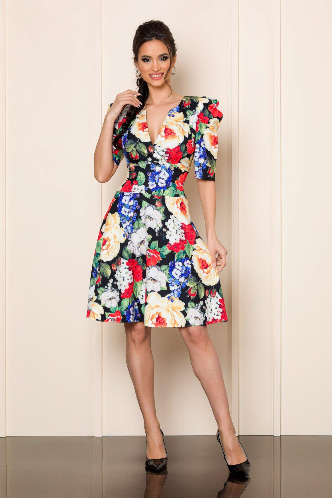 Floral Φόρεμα Με Φουσκωτό Μανίκι Renee 8016 1