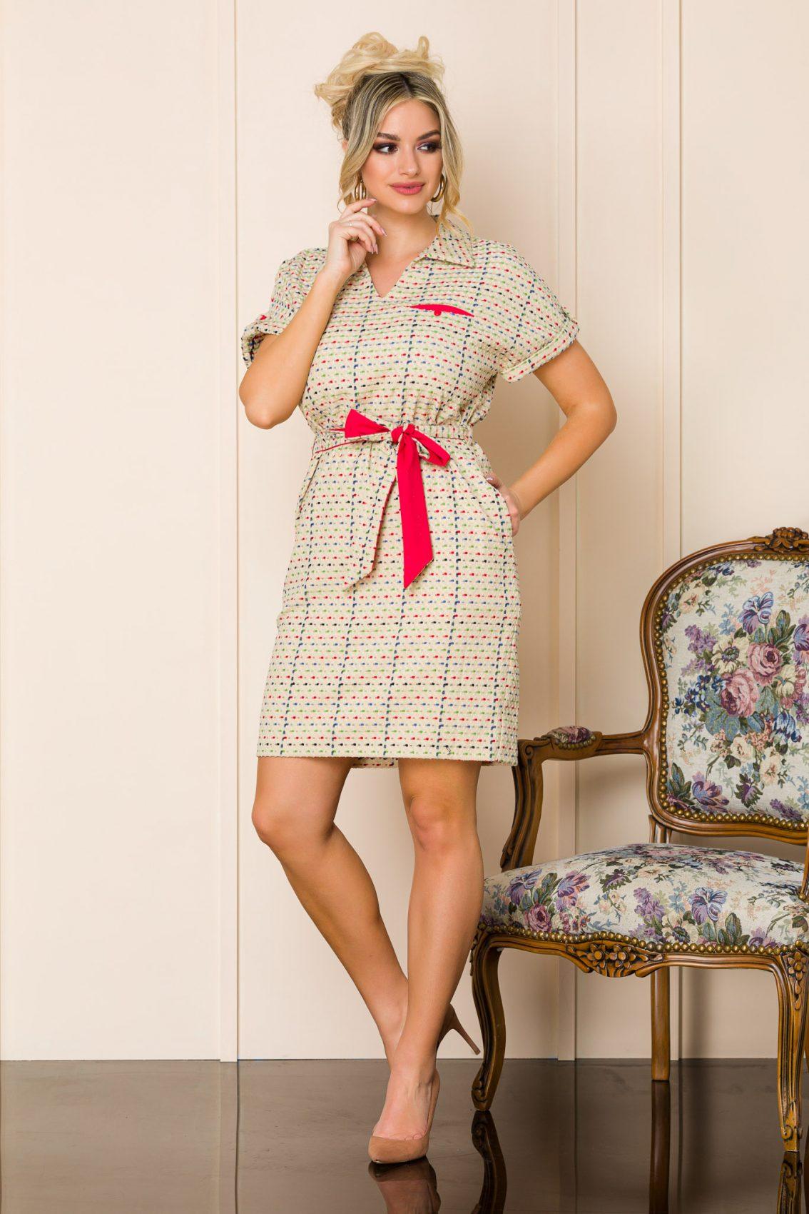 Μπεζ Καθημερινό Φόρεμα Janelle 9874 3