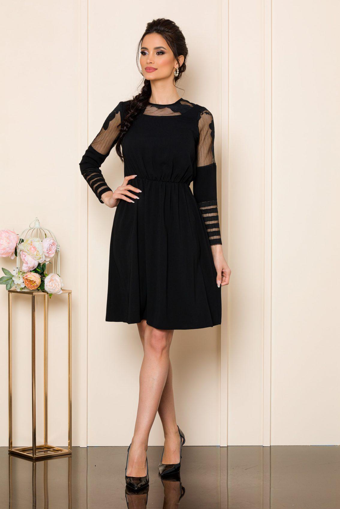 Μαύρο Φόρεμα Με Δαντέλα Dorry 9834 1