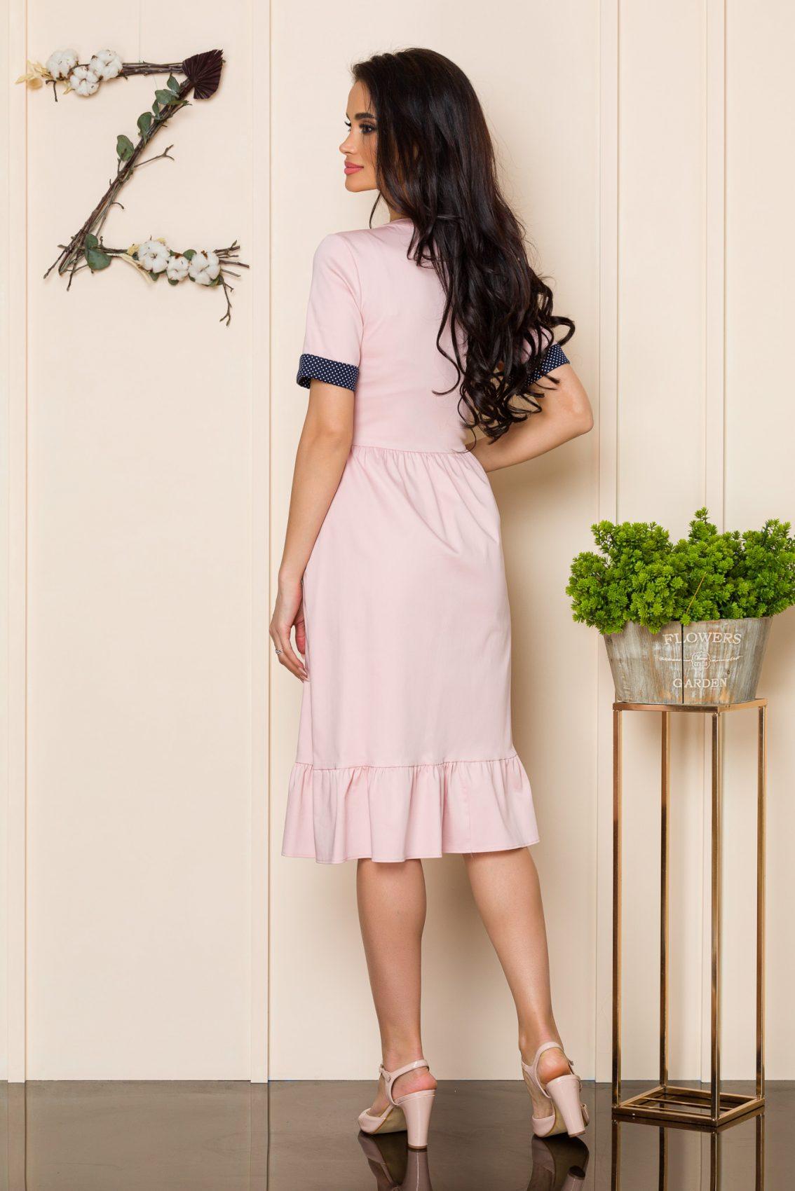 Ροζ Φόρεμα Με Κουμπιά Stella A124 2