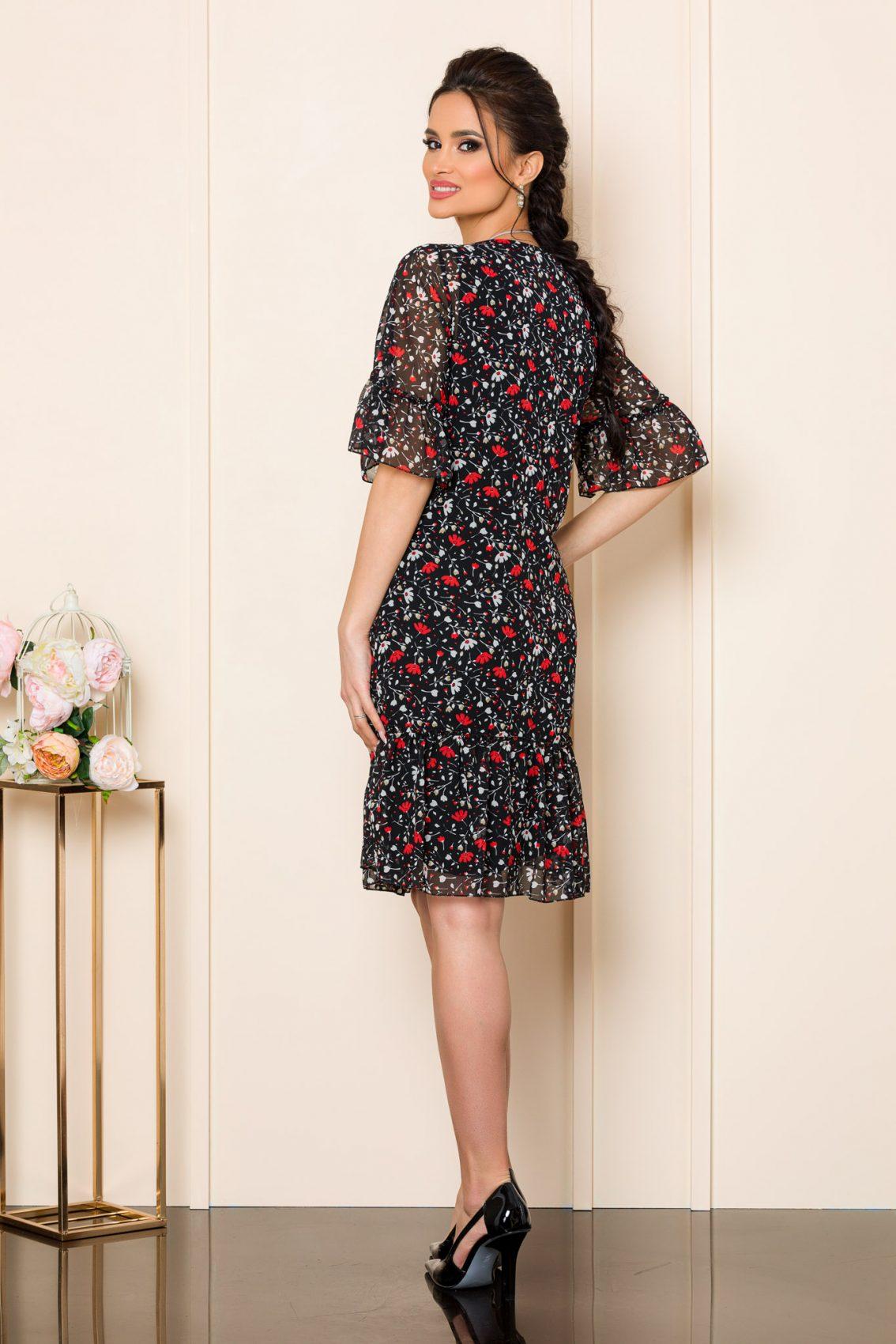 Μαύρο Φόρεμα Με Λουλούδια Ika 9840 2