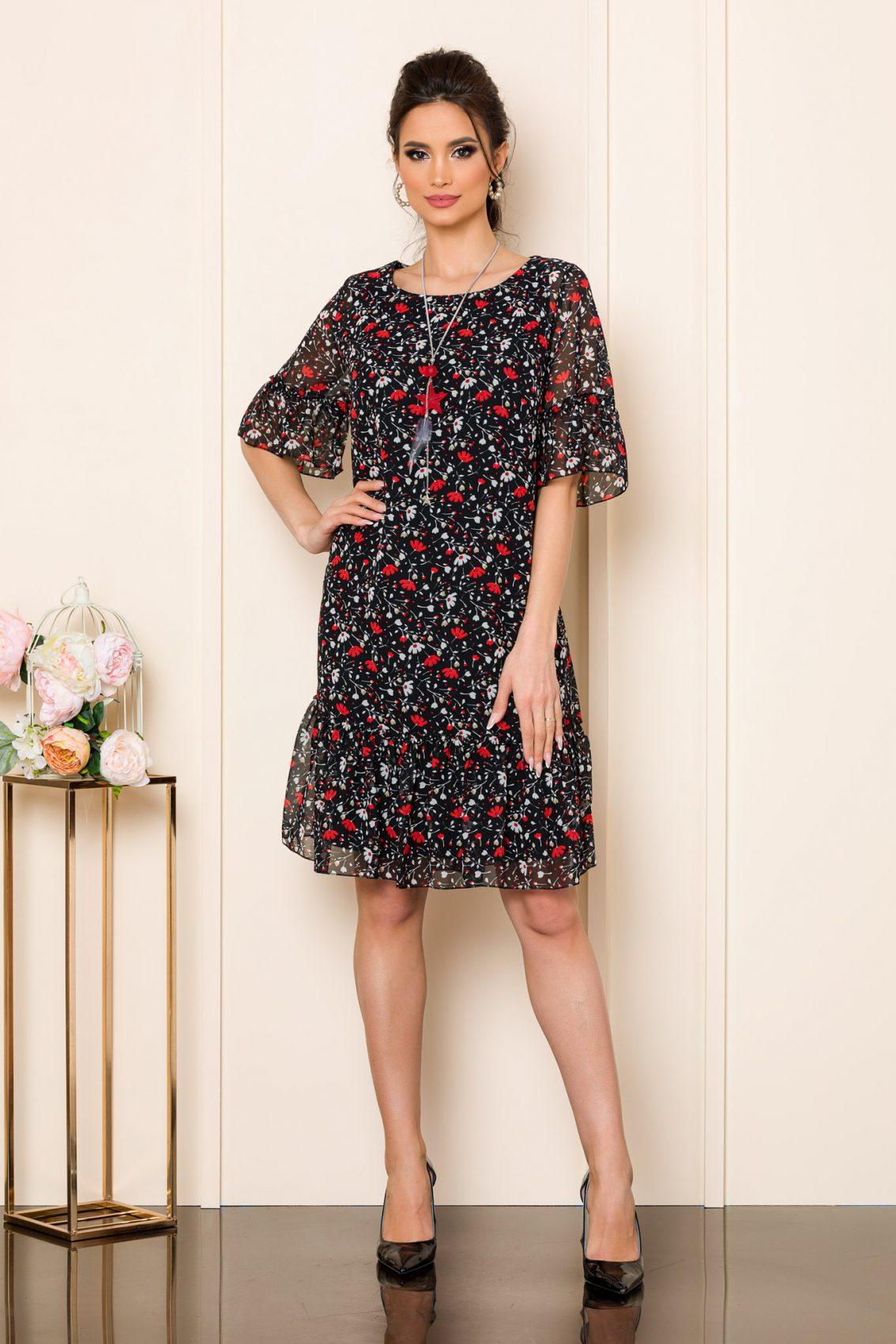 Μαύρο Φόρεμα Με Λουλούδια Ika 9840 1