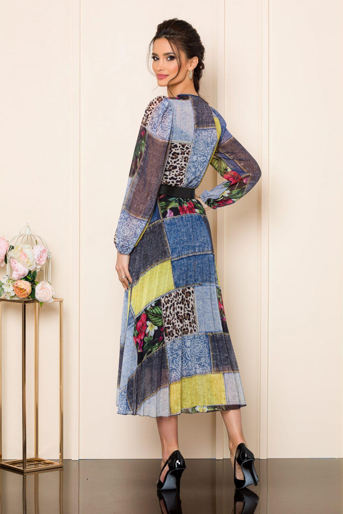 Πολύχρωμο Μίντι Πλισέ Φόρεμα Ingrid 9820 2