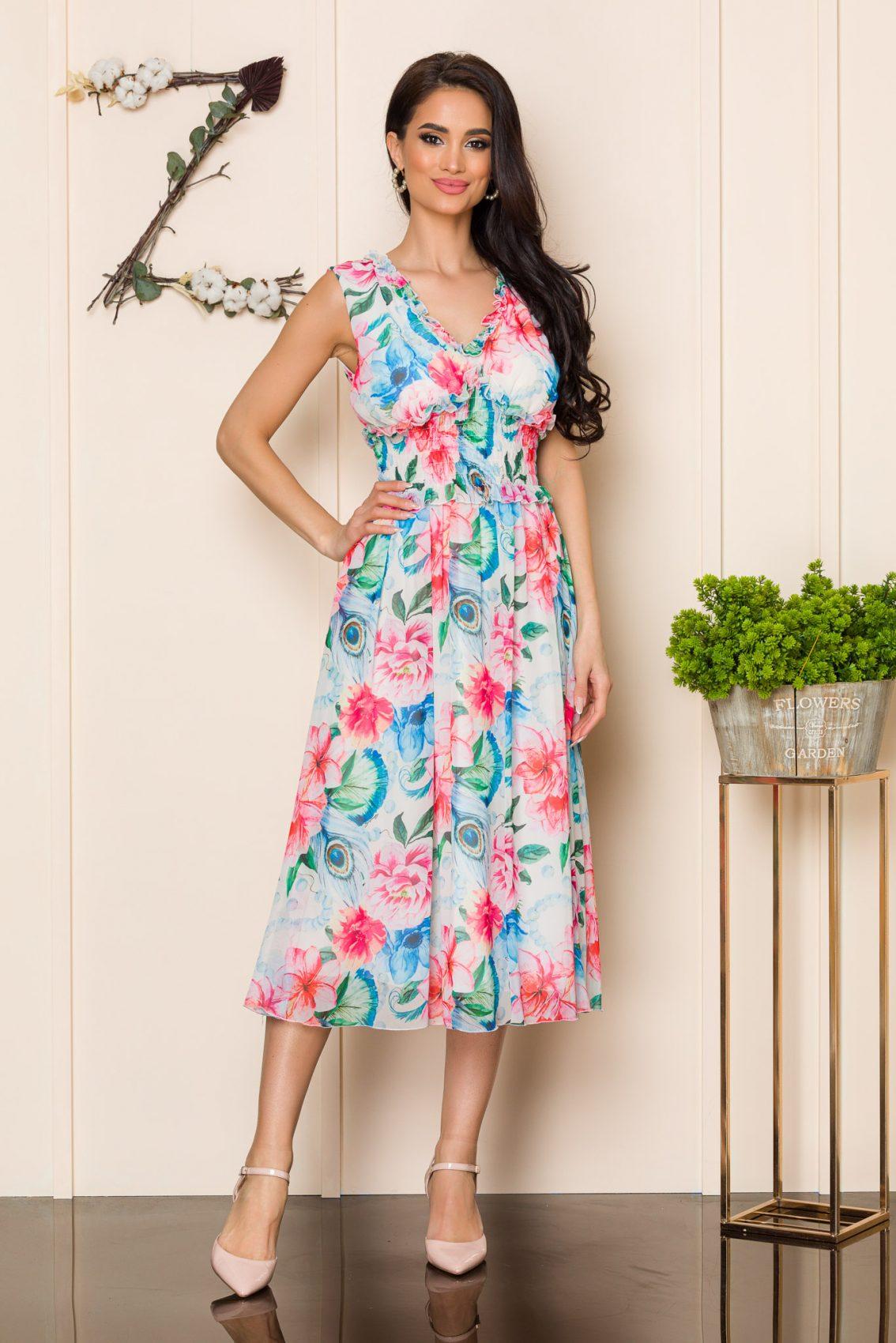 Ροζ Φλοράλ Αμάνικο Φόρεμα Imola A135 1