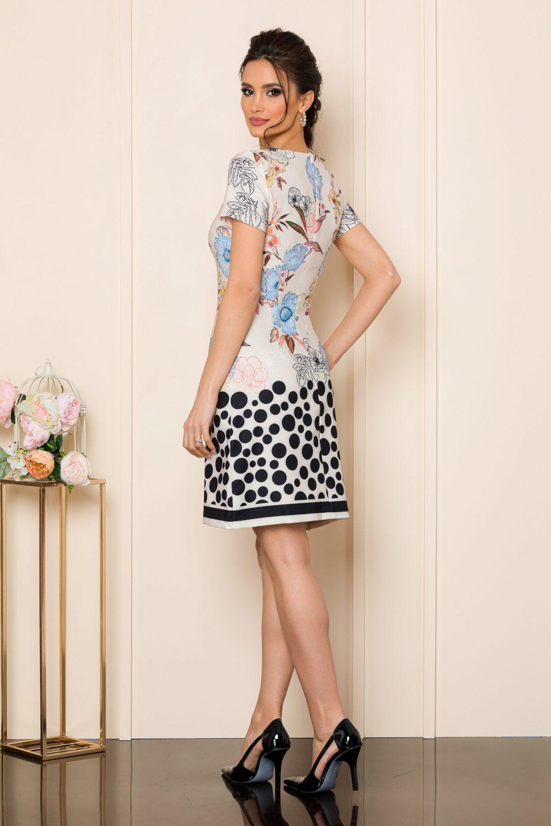 Φόρεμα Ιβουάρ Με Μπλε Λουλούδια Zoey 7543 2