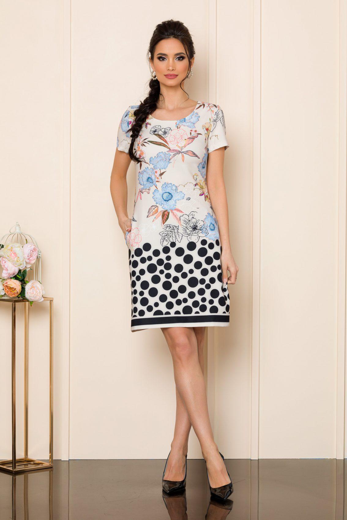Φόρεμα Ιβουάρ Με Μπλε Λουλούδια Zoey 7543 1
