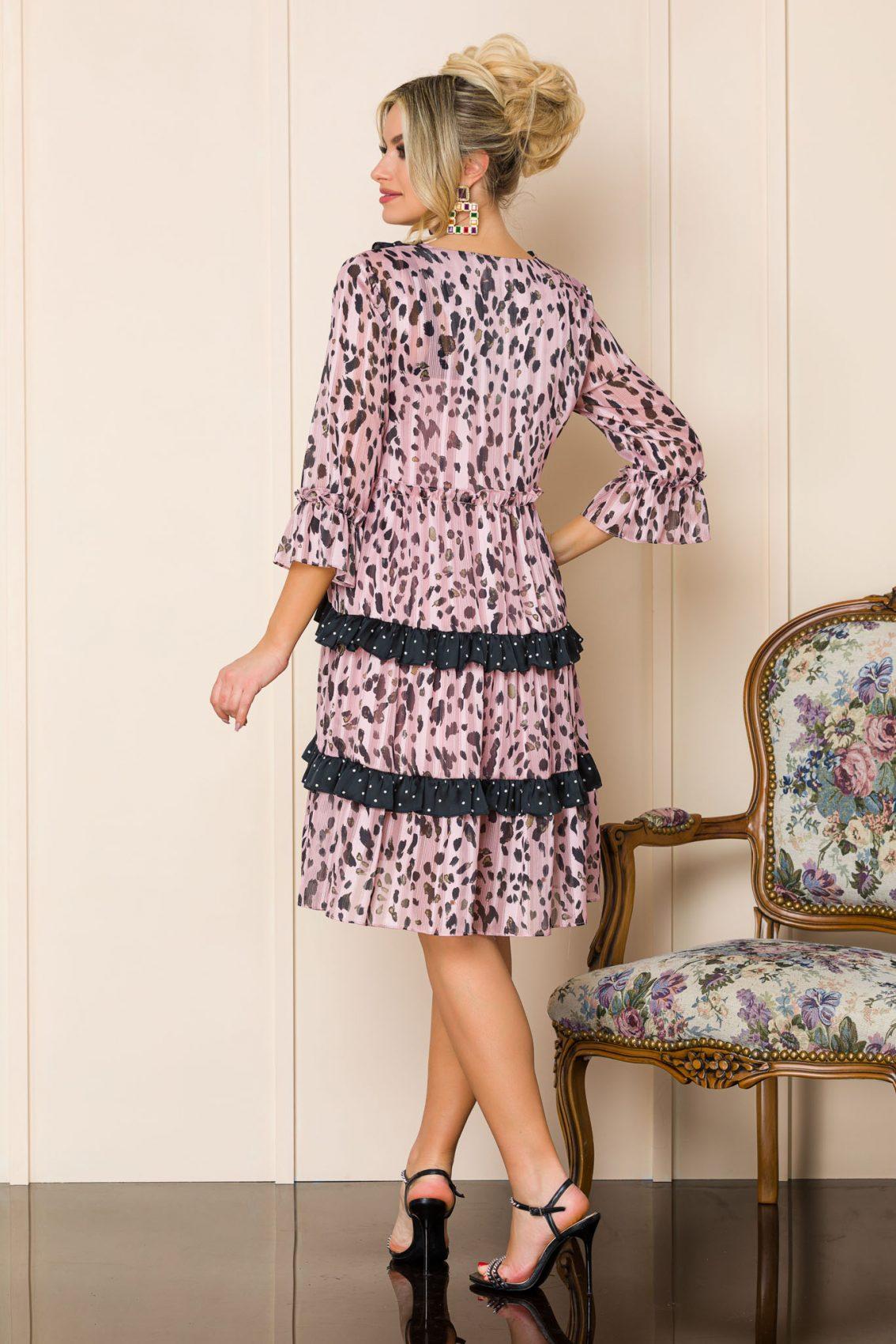 Ροζ Λεοπάρ Φόρεμα Με Βολάν Anka 9876 2