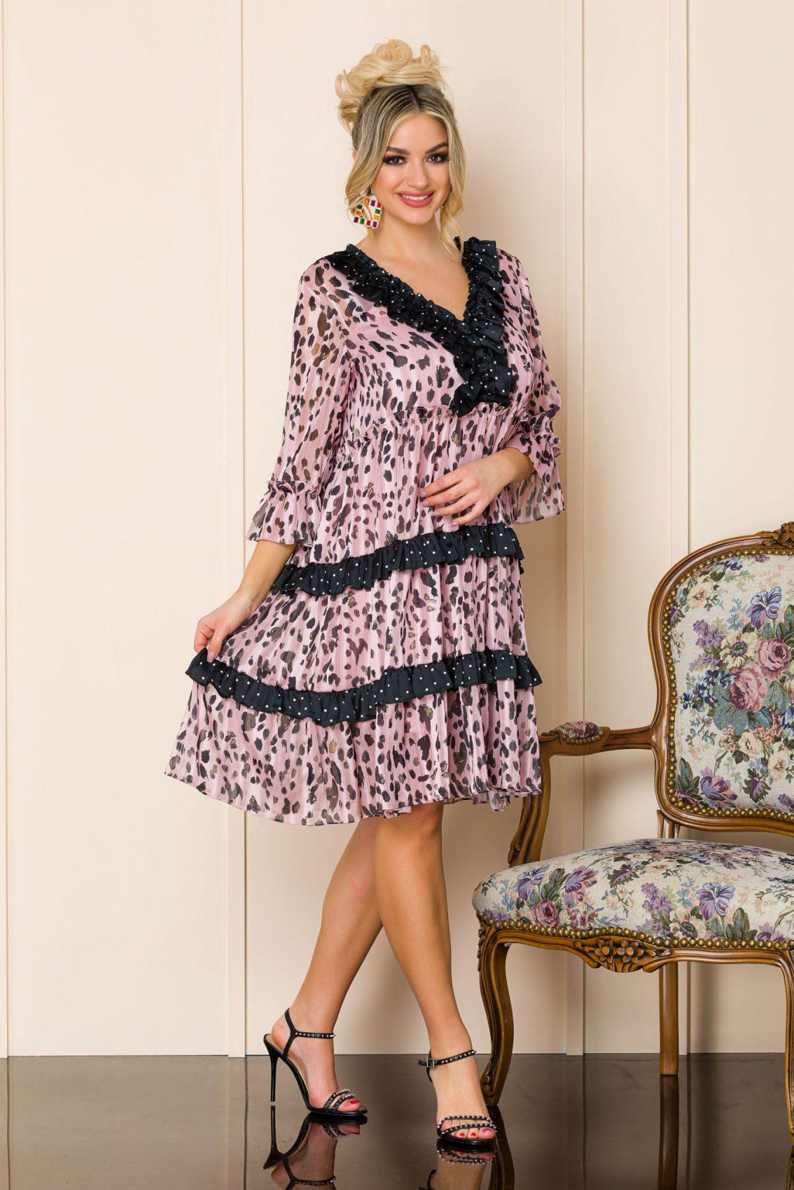 Ροζ Λεοπάρ Φόρεμα Με Βολάν Anka 9876 1