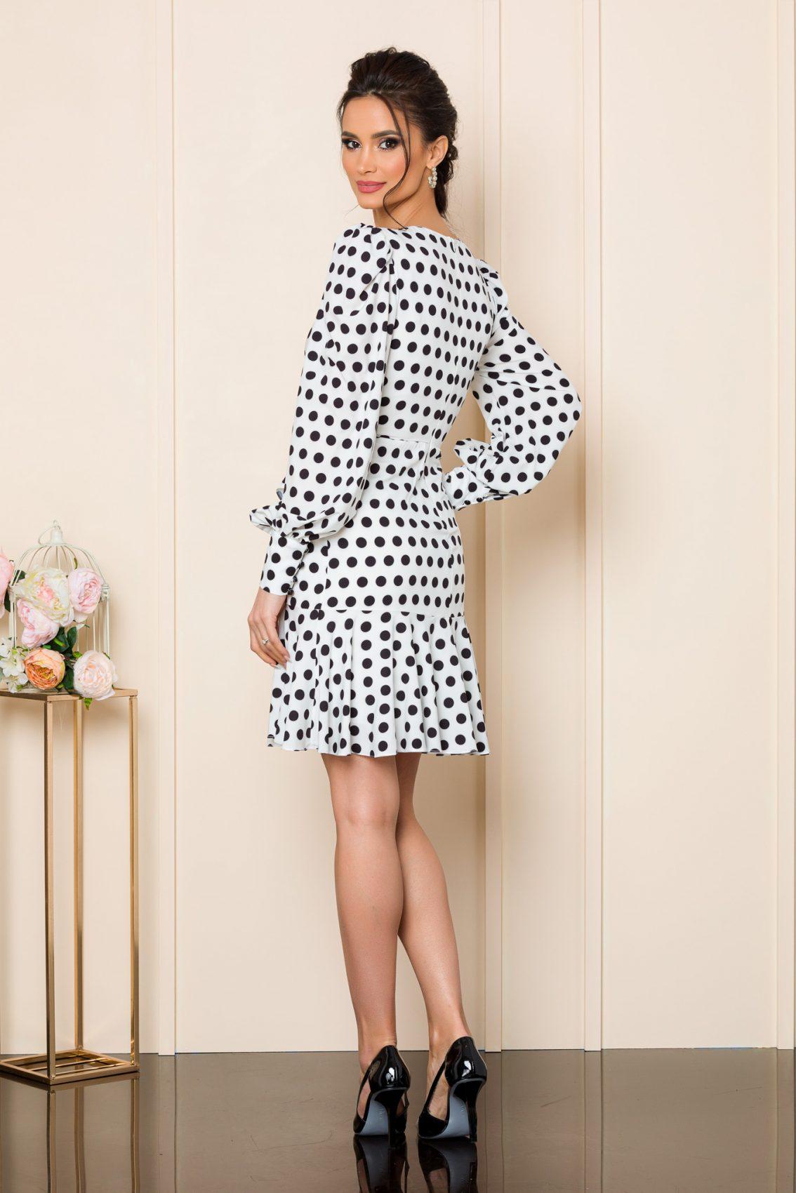 Λευκό Μίνι Πουά Φόρεμα Gwen 9801 2