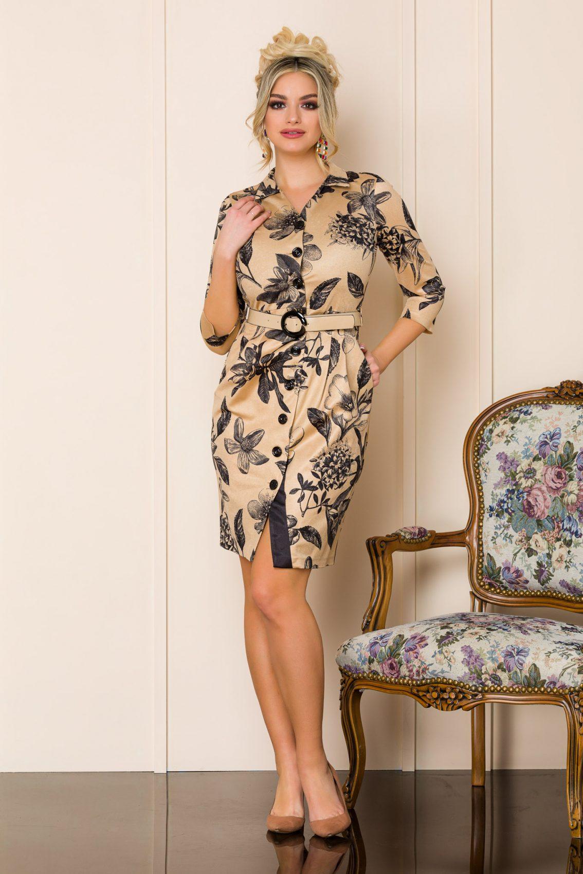 Καραμελέ Φλοράλ Φόρεμα Blaire 9932 1