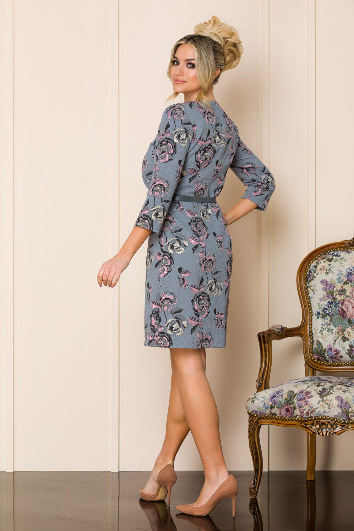 Γκρι Φλοράλ Φόρεμα Με Ζώνη Sabria 9901 2
