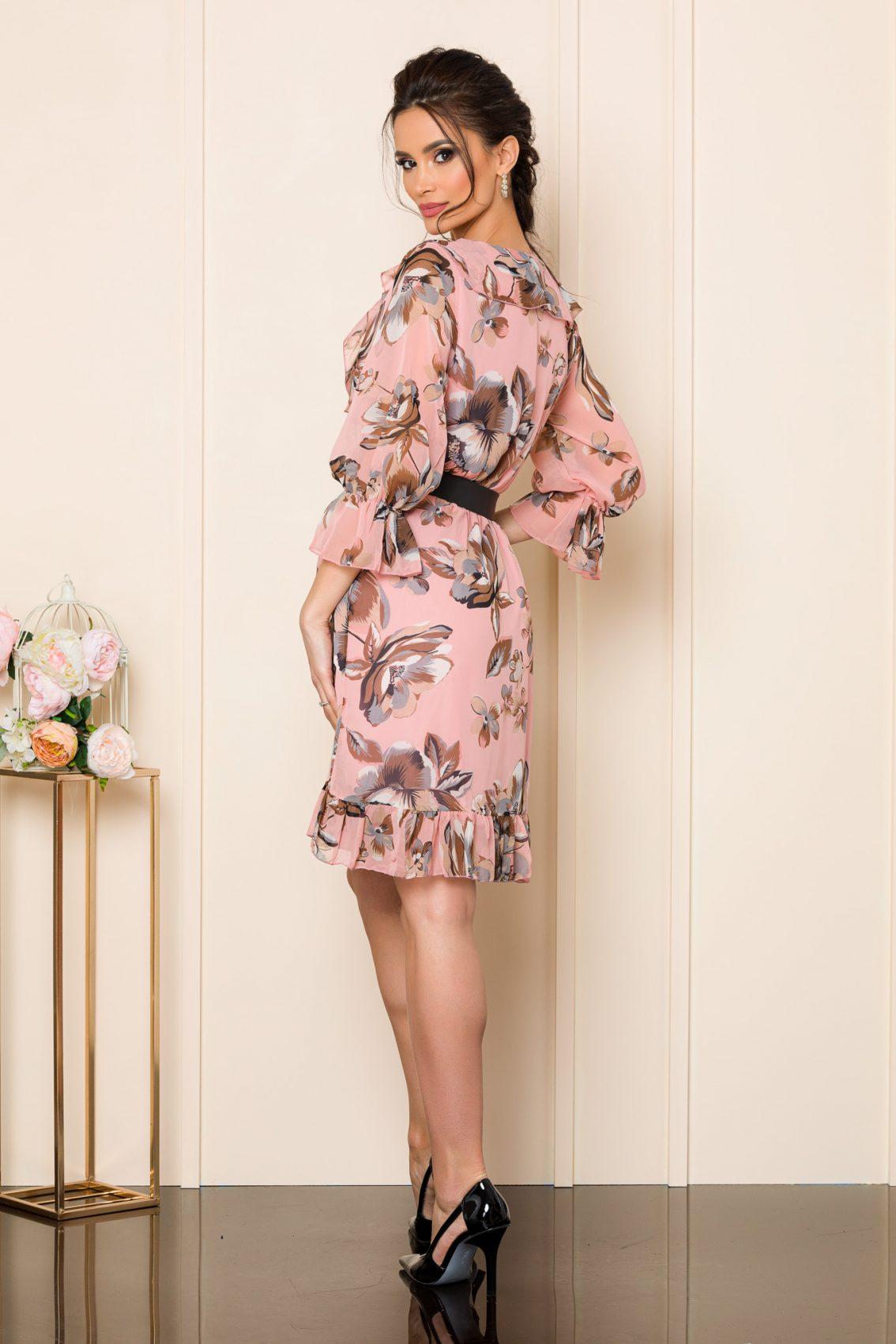 Ροζ Φλοράλ Φόρεμα Με Ζώνη Elda 7555 2