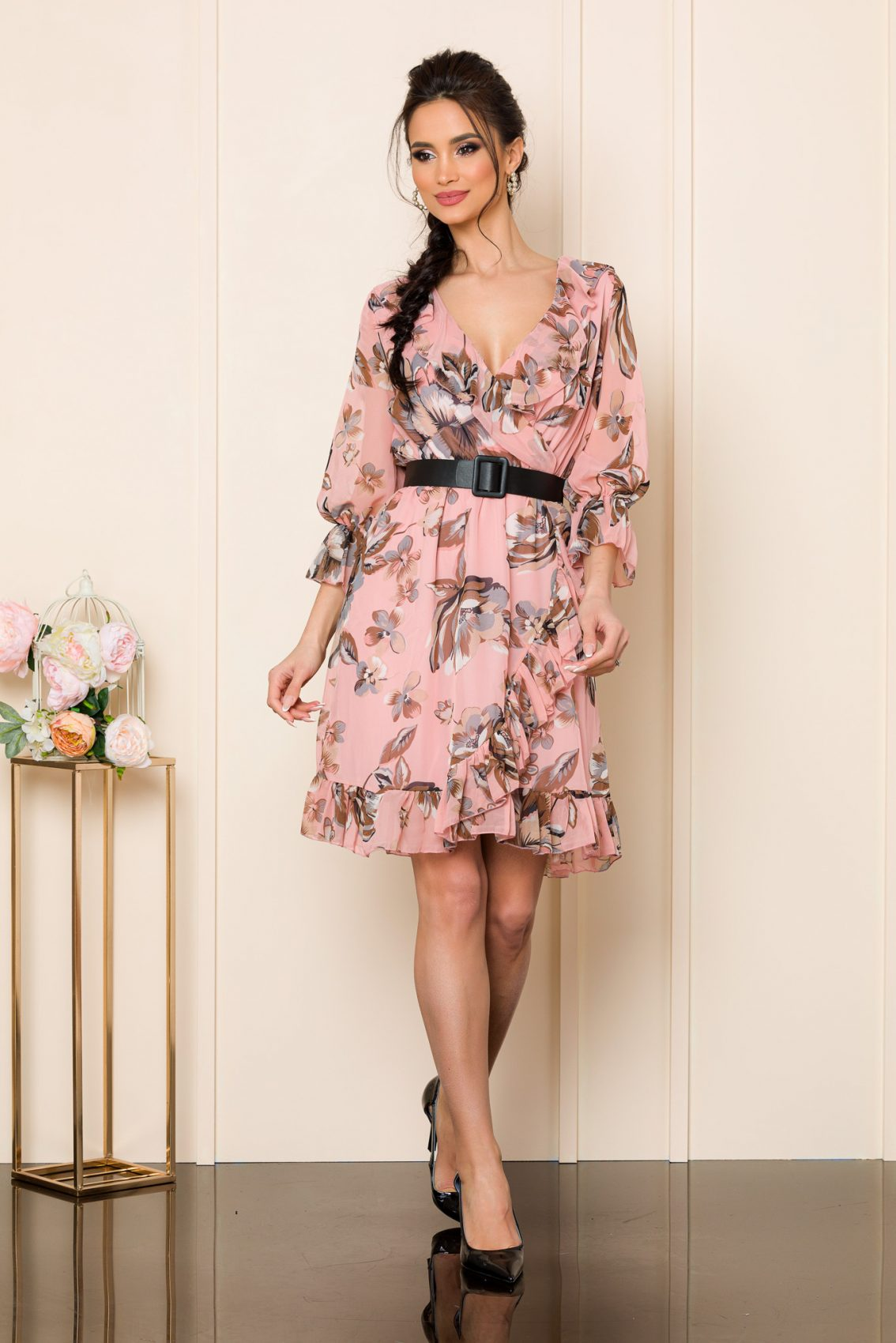 Ροζ Φλοράλ Φόρεμα Με Ζώνη Elda 7555 1