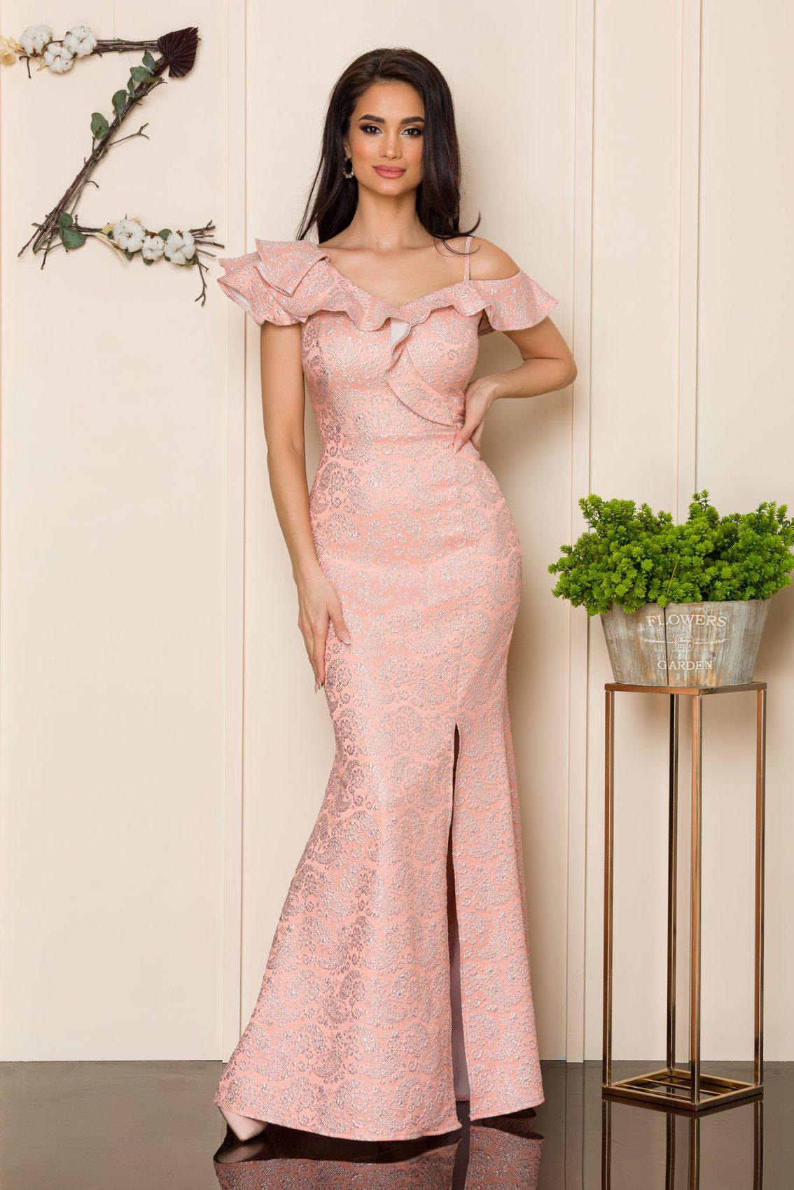 Ροδακινί Μάξι Βραδινό Φόρεμα Sirenna 9920 1