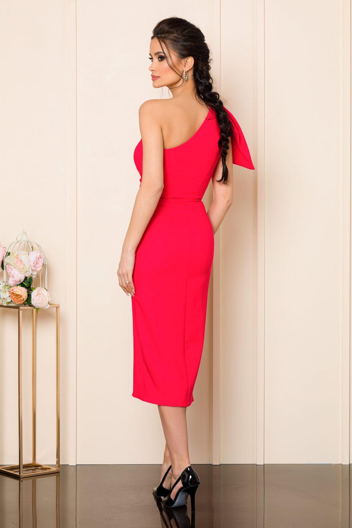 Κοραλί Μίντι Φόρεμα Με Έναν Ώμο Tatiana 9811 2
