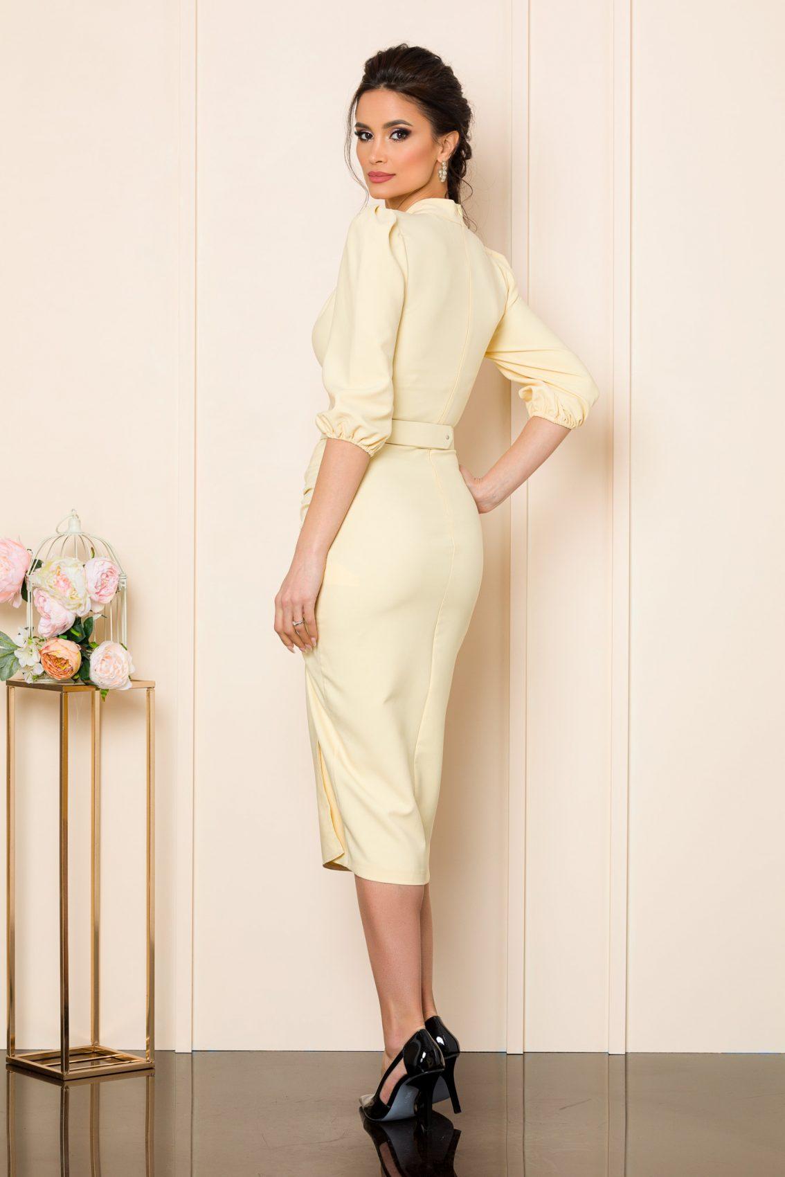 Μπεζ Μίντι Φόρεμα Fiorella 9798 2