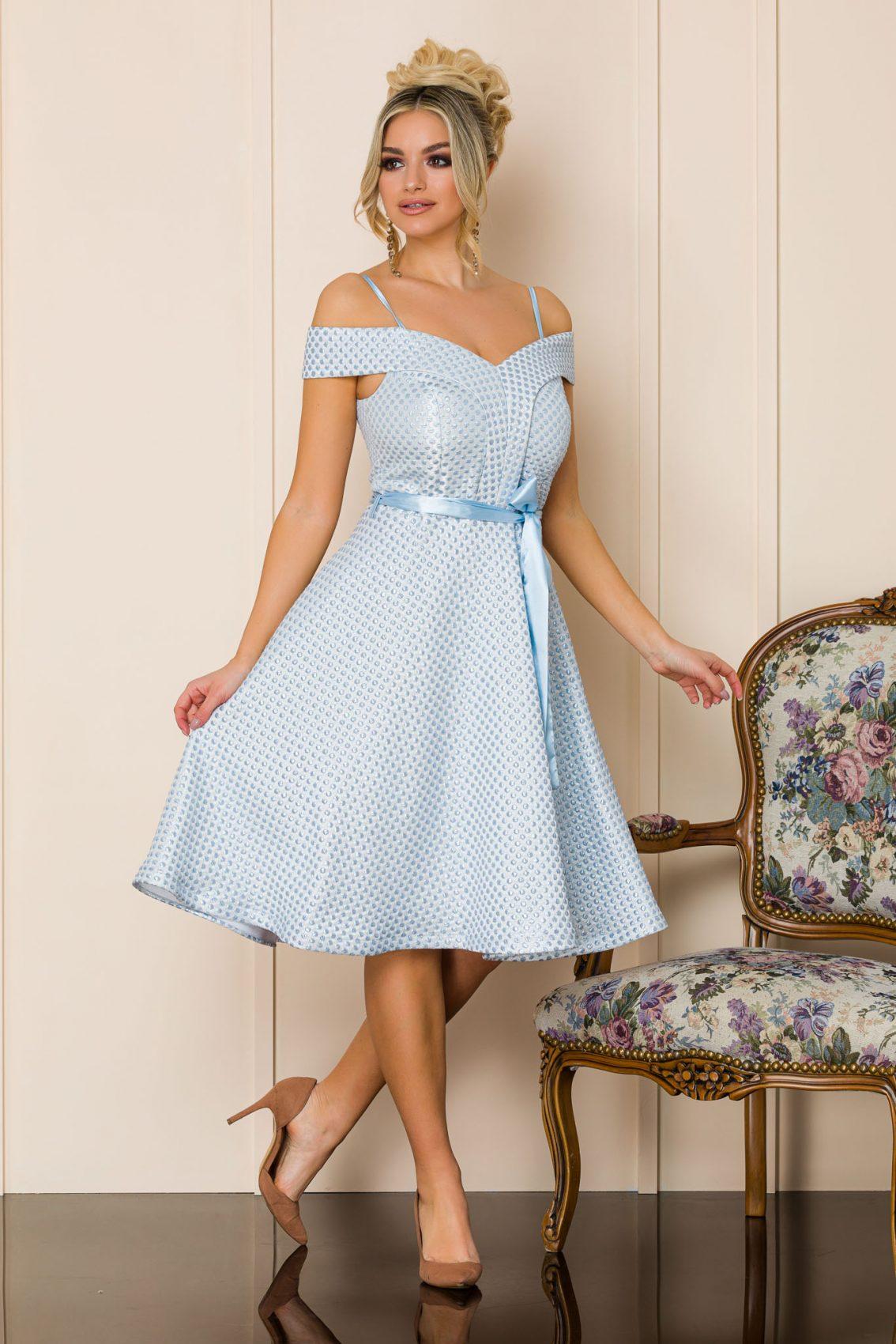 Γαλάζιο Μίντι Αμπιγιέ Φόρεμα Delicia A143 1