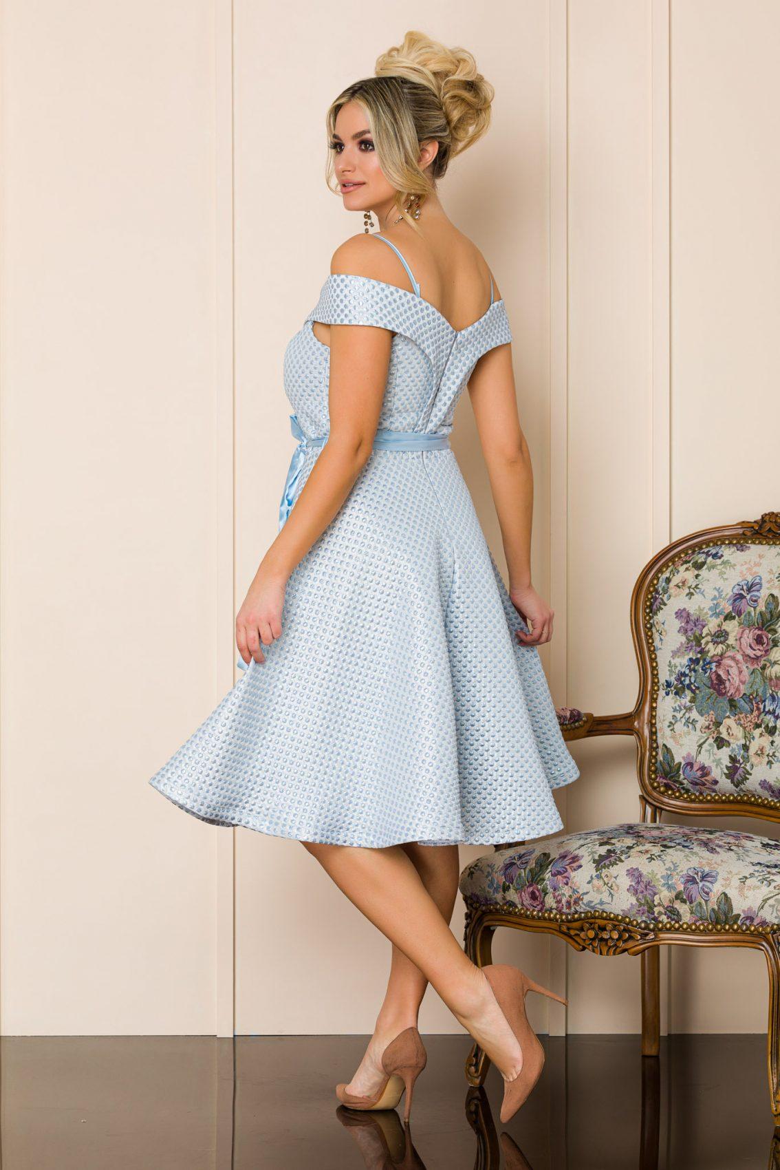 Γαλάζιο Μίντι Αμπιγιέ Φόρεμα Delicia A143 2