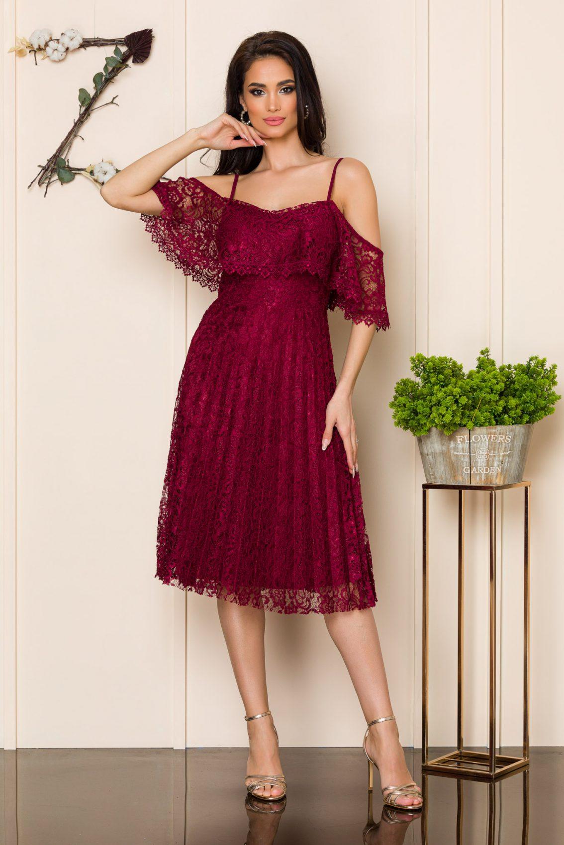 Μπορντό Μίντι Φόρεμα Από Δαντέλα Kimber 9869 1