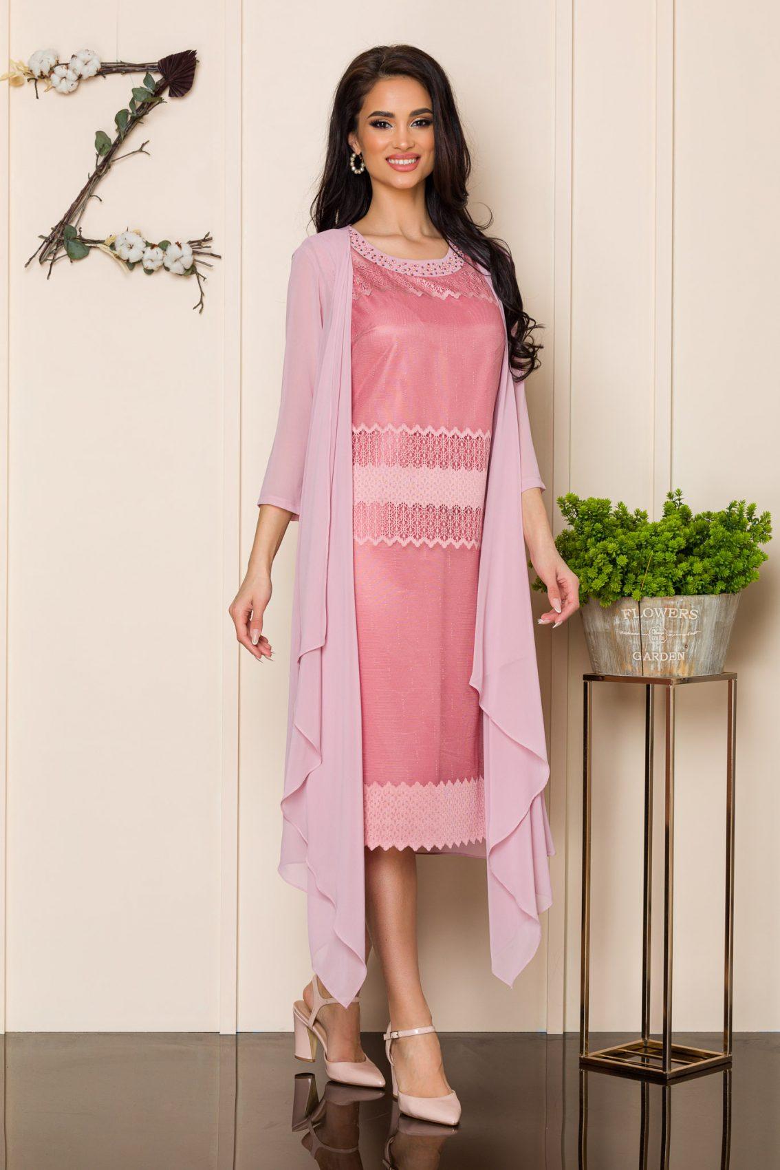 Ροζ Φόρεμα Με Ασύμμετρο Μπολερό Georgina 9880 1