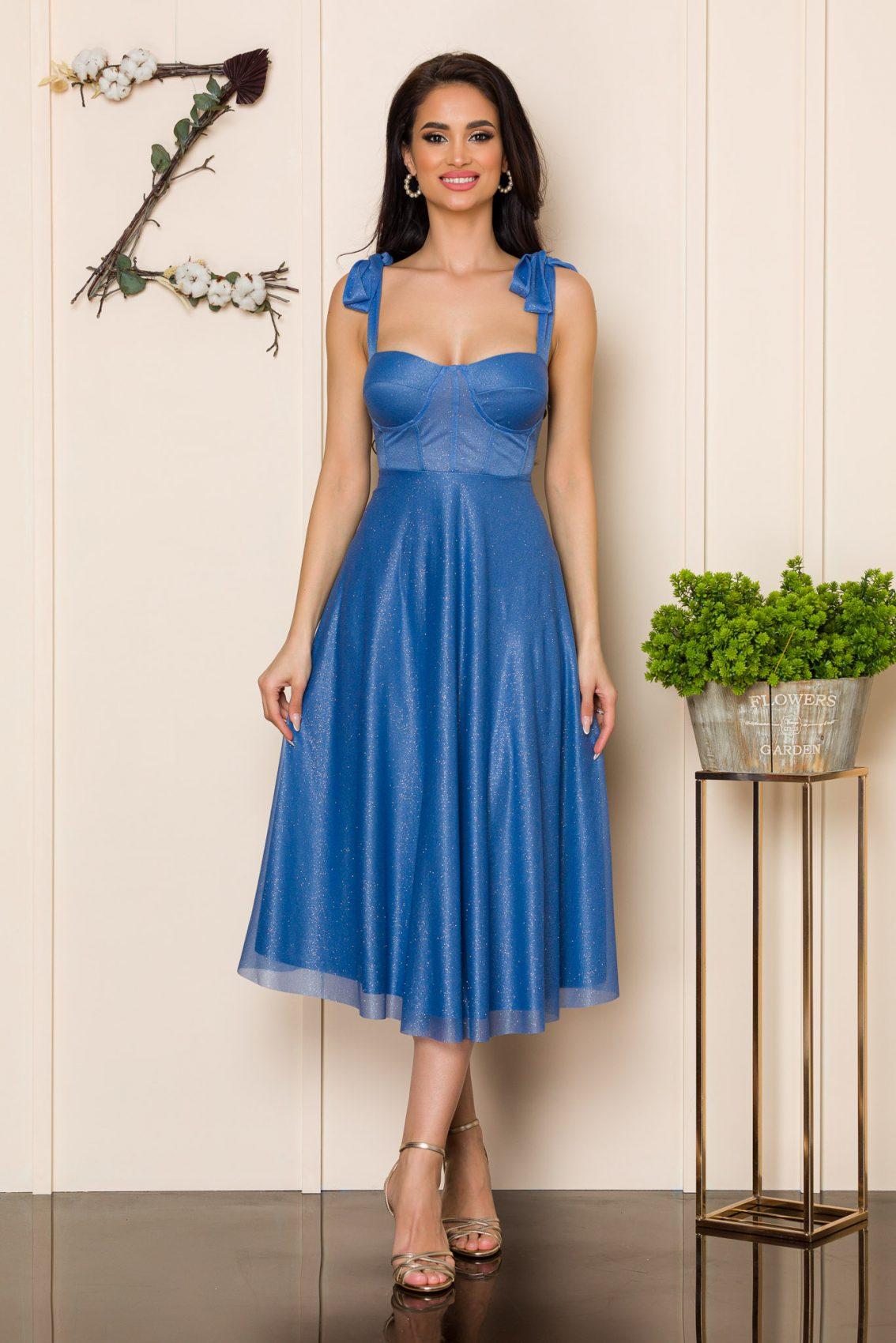 Μπλε Μίντι Αμπιγιέ Φόρεμα Solange A103 1