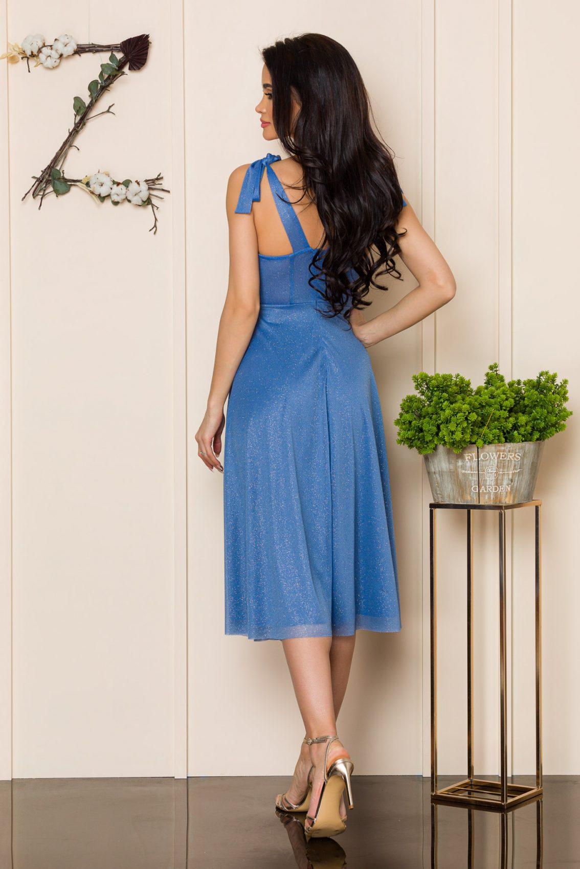 Μπλε Μίντι Αμπιγιέ Φόρεμα Solange A103 2