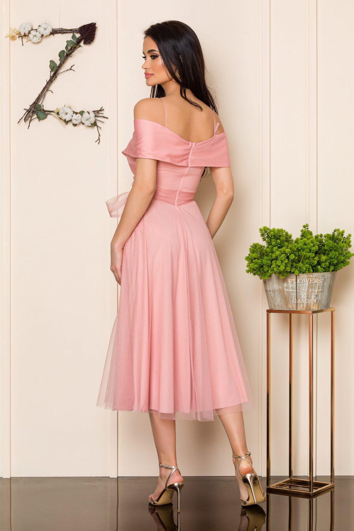 Ροζ Μίντι Βραδινό Φόρεμα Sugar 9871 2