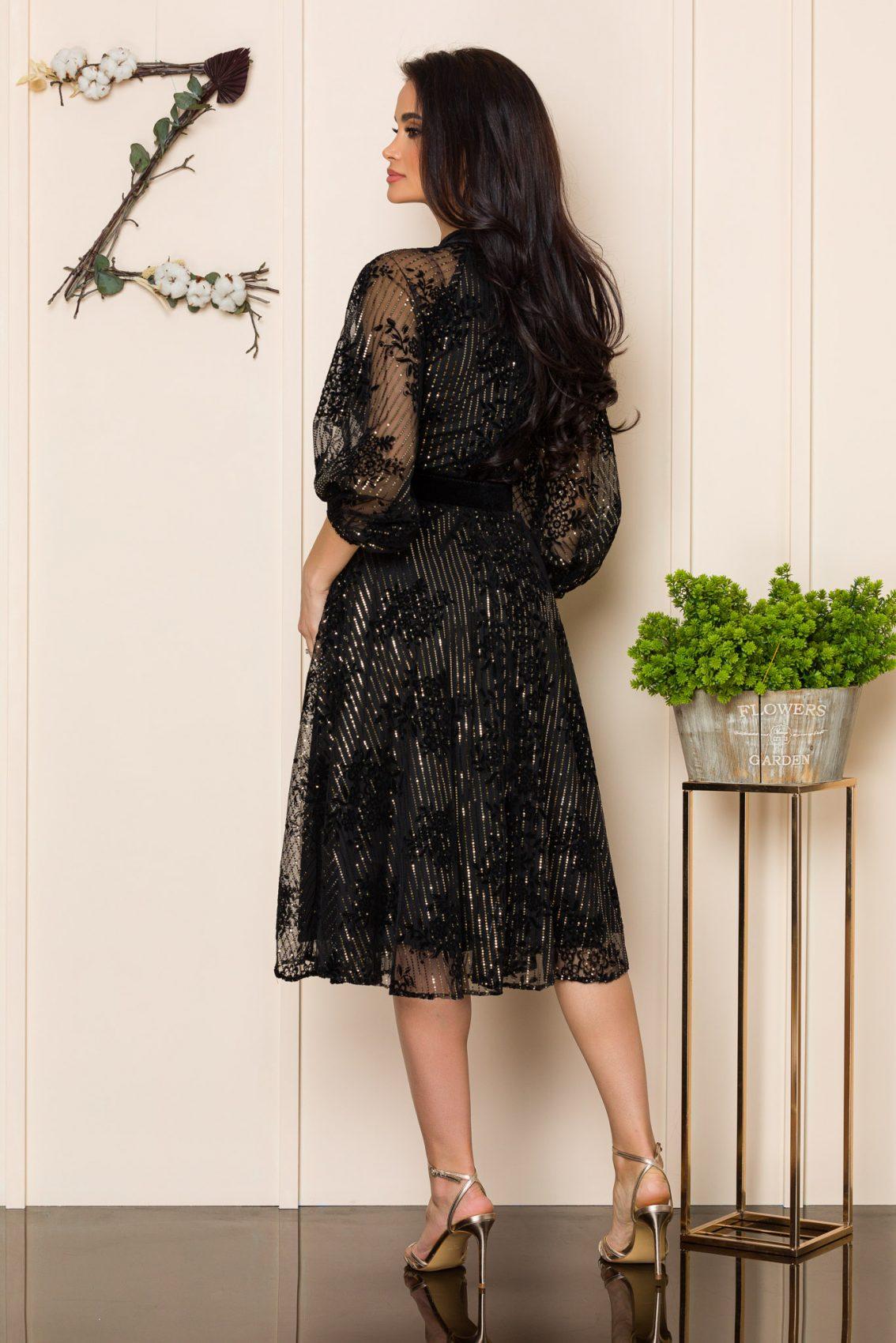 Μαύρο Μίντι Αμπιγιέ Φόρεμα Kemina A148 2