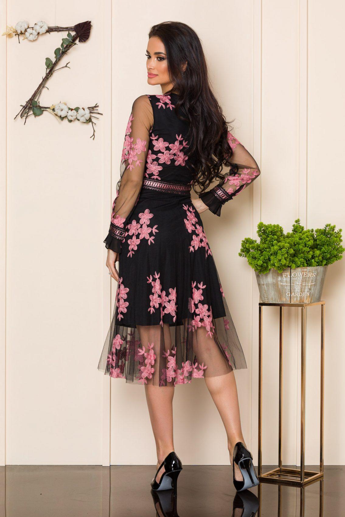 Μαύρο Μίντι Αμπιγιέ Φόρεμα Henley A177 2